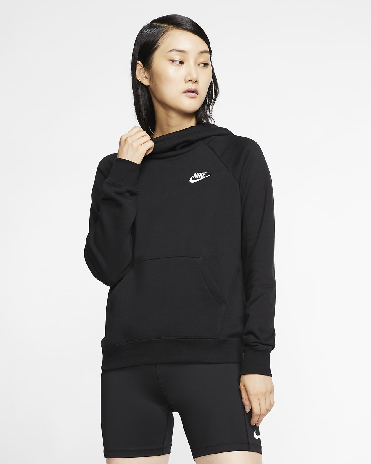 Hoodie pullover de lã cardada com gola afunilada Nike Sportswear Essential para mulher