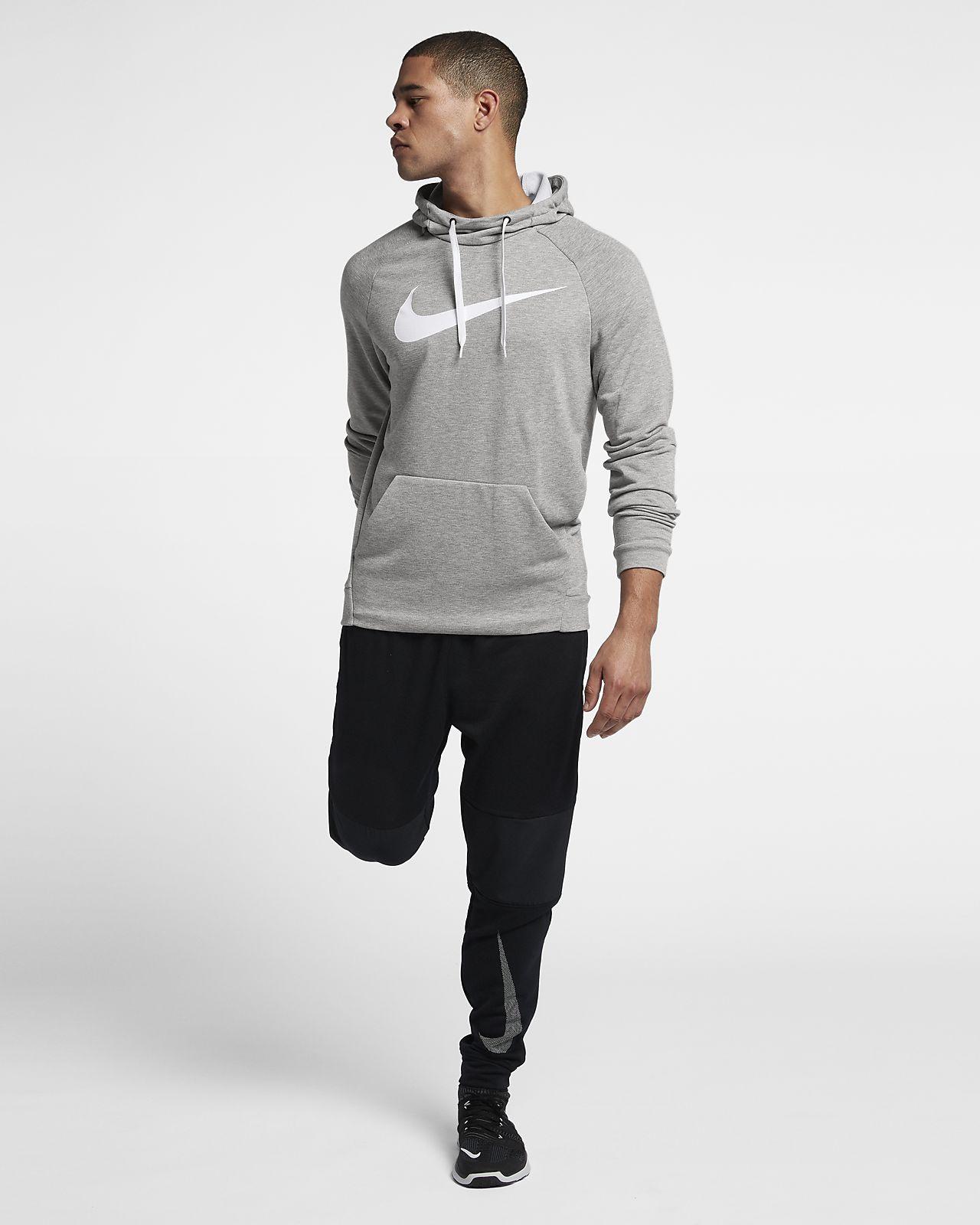Sweat shirt Nike Dry Training gris blanc | Deporvillage