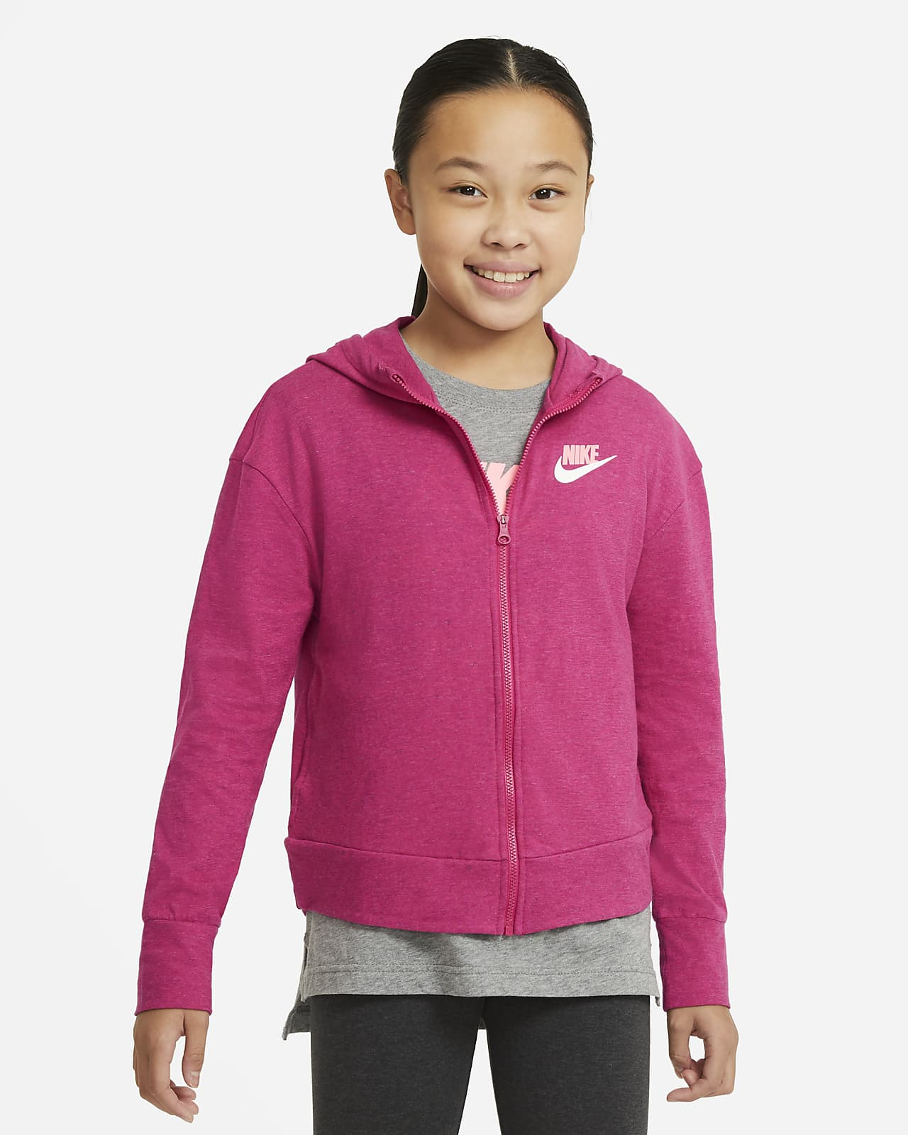 Nike Sportswear Big Kids' (Girls') Full-Zip Jersey Hoodie