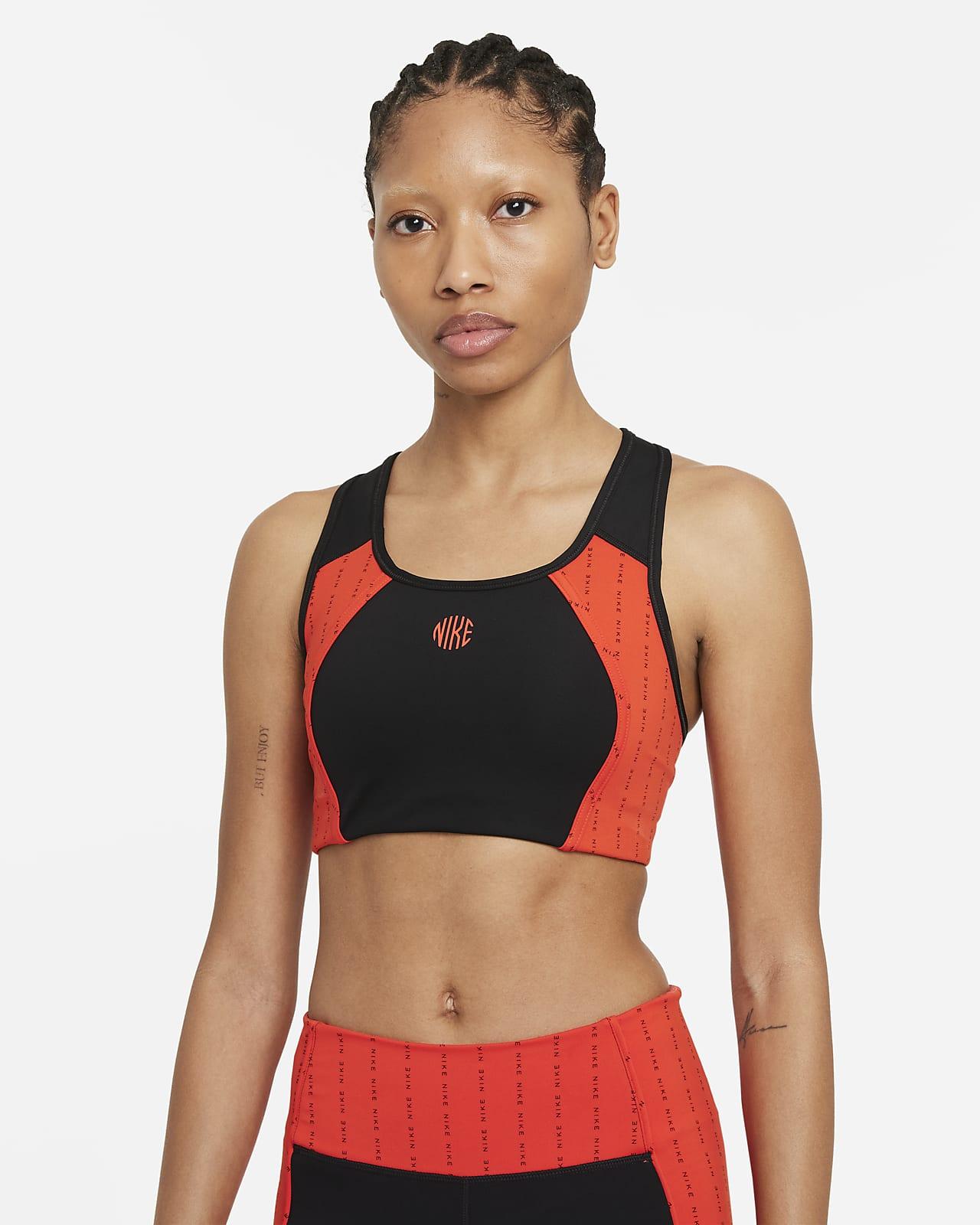 Nike Dri-FIT Swoosh Icon Clash Sport-BH mit mittlerem Halt, einteiligem Polster und Keyhole-Detail für Damen