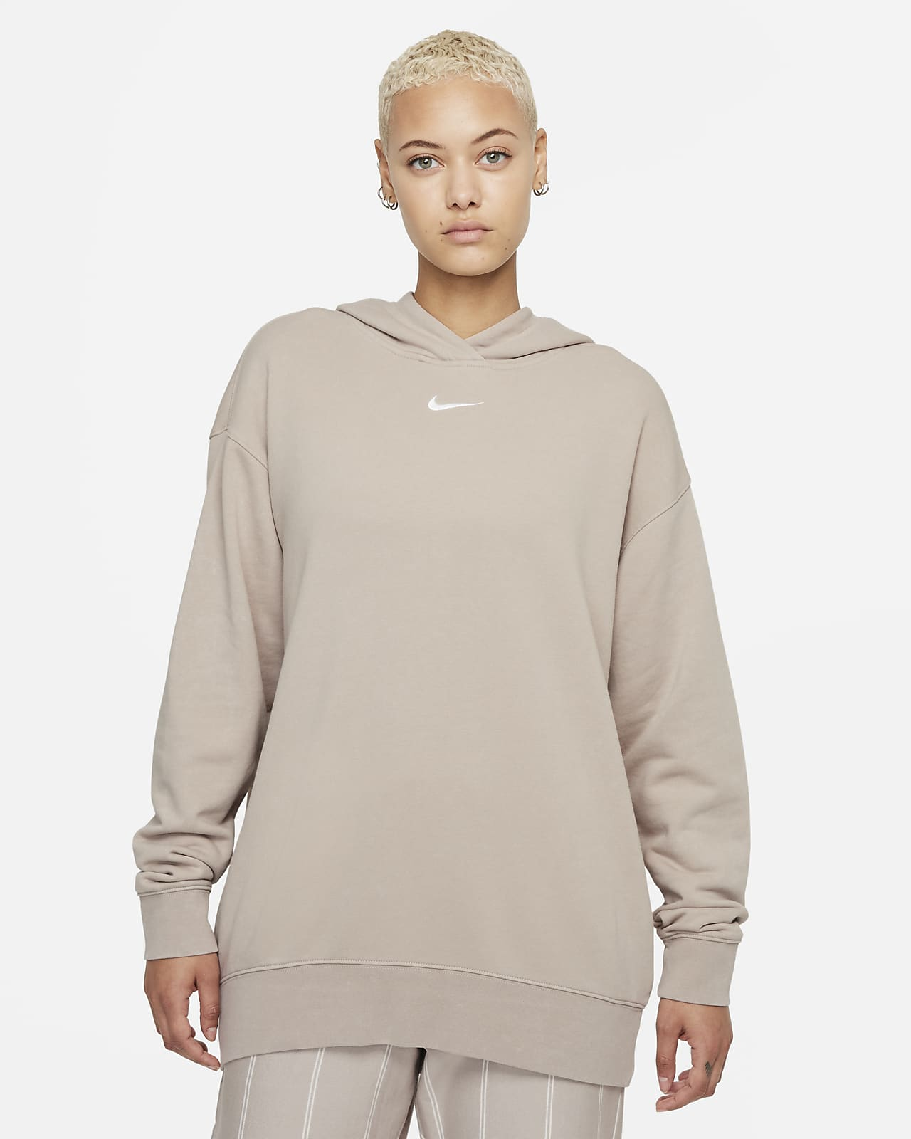 Nike Sportswear Essential Collection Yıkanmış Fleece Kadın Kapüşonlu Üstü