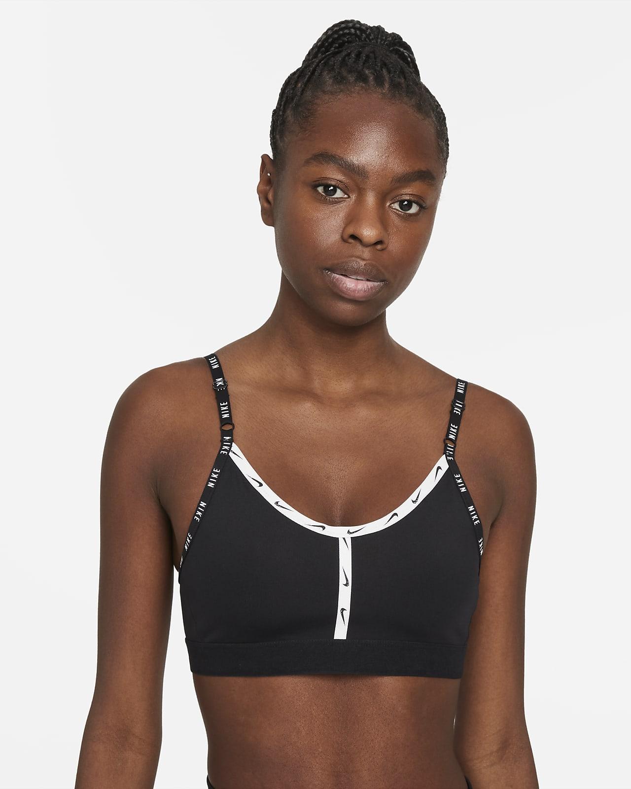 Brassière de sport rembourrée à maintien léger avec bande logo Nike Dri-FIT Indy pour Femme