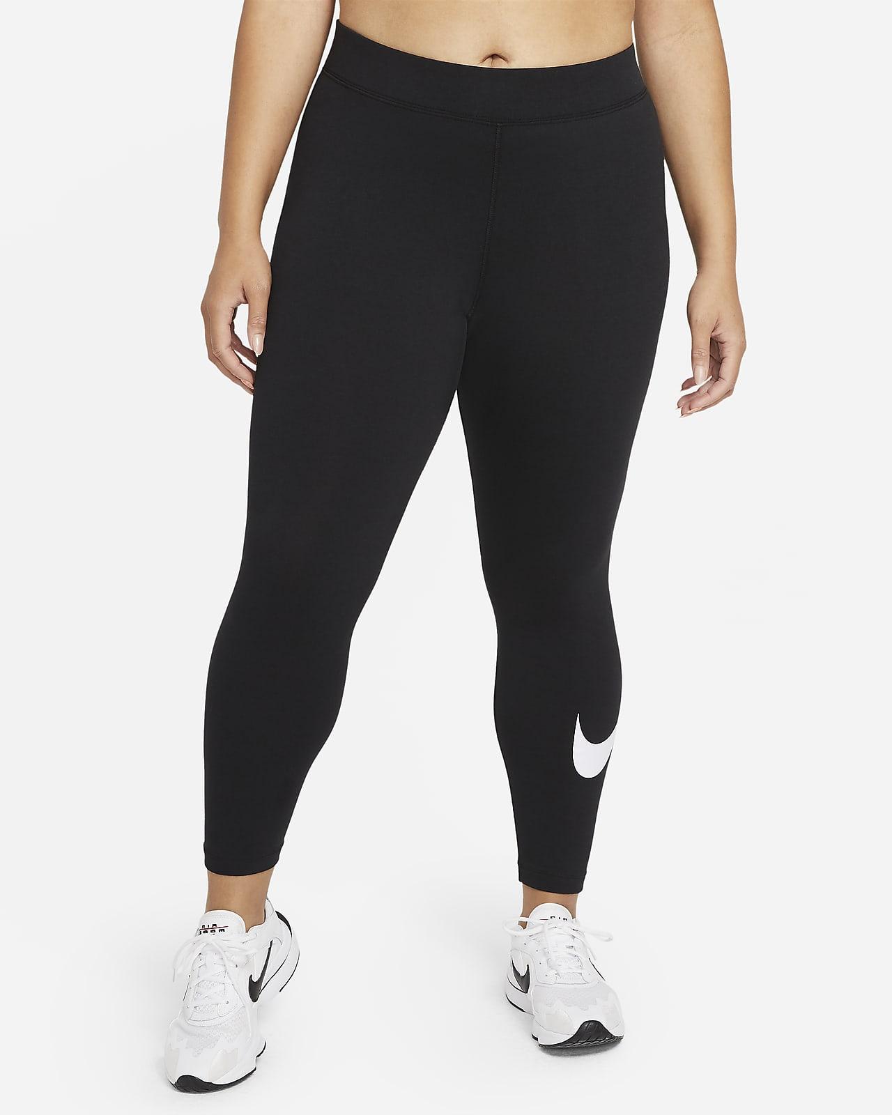 Damskie legginsy ze średnim stanem i logo Swoosh Nike Sportswear Essential (duże rozmiary)