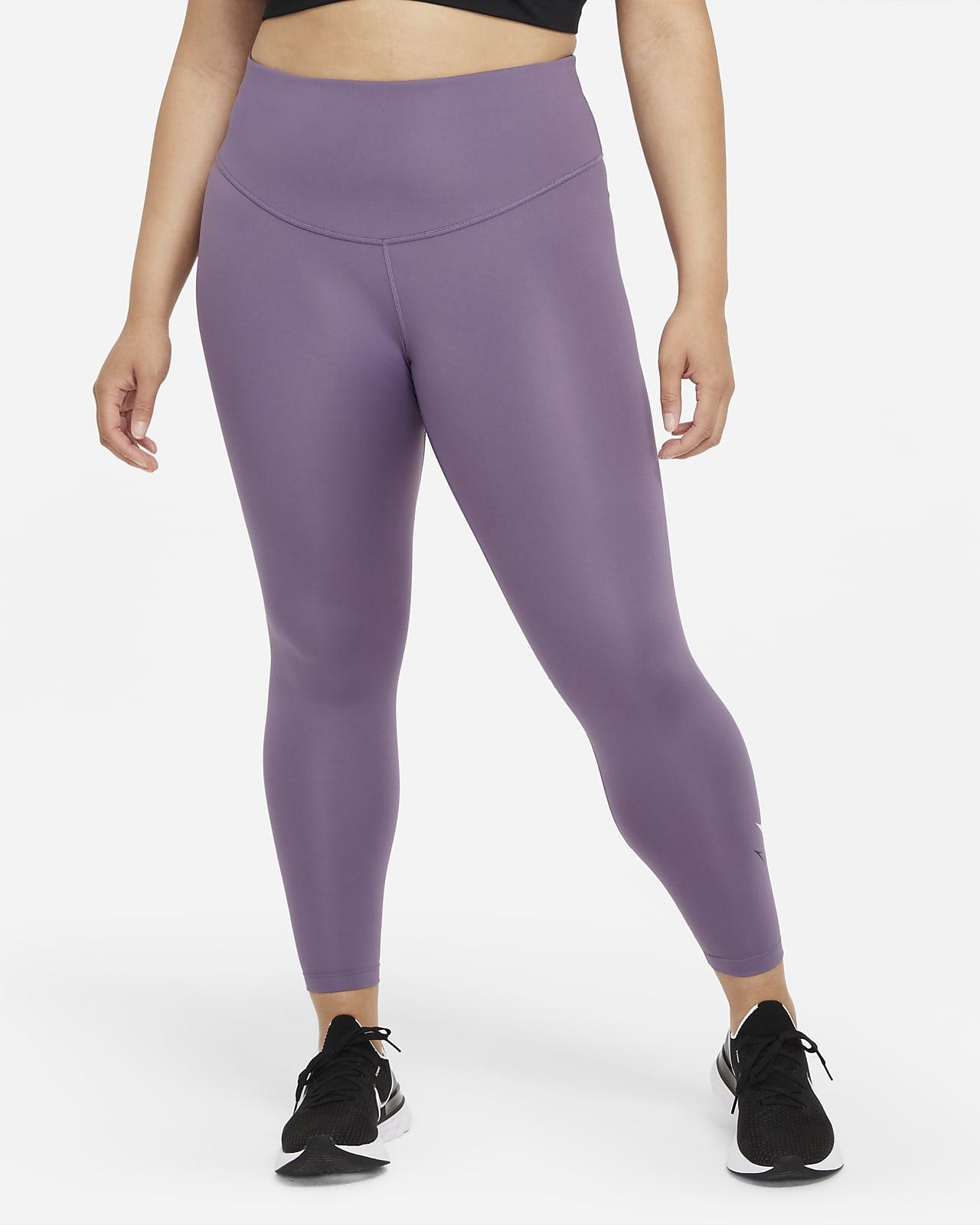 Dámské 7/8 běžecké legíny Nike Dri-FIT Swoosh Run se středně vysokým pasem (větší velikost)