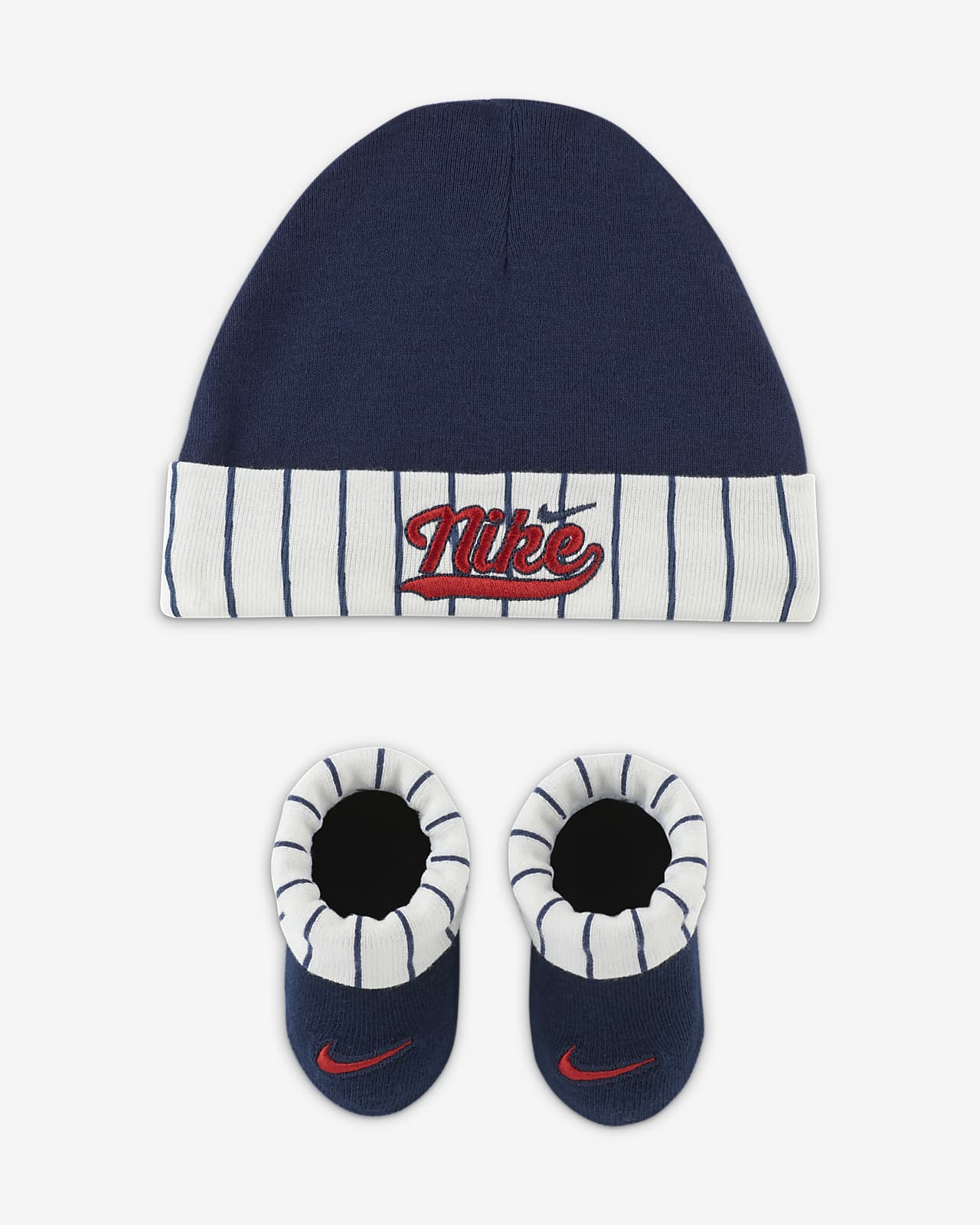 Nike Baby (0-6M) Pinstripe Hat and Booties Box Set