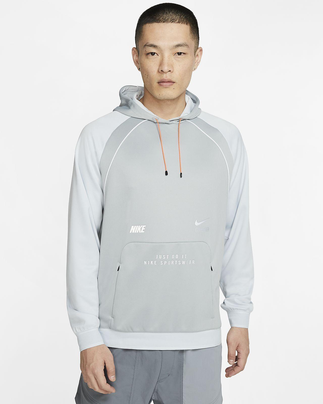Nike Men's Nike Air Fleece Pullover Hoodie (Light Smoke Grey | Black | White | Volt)