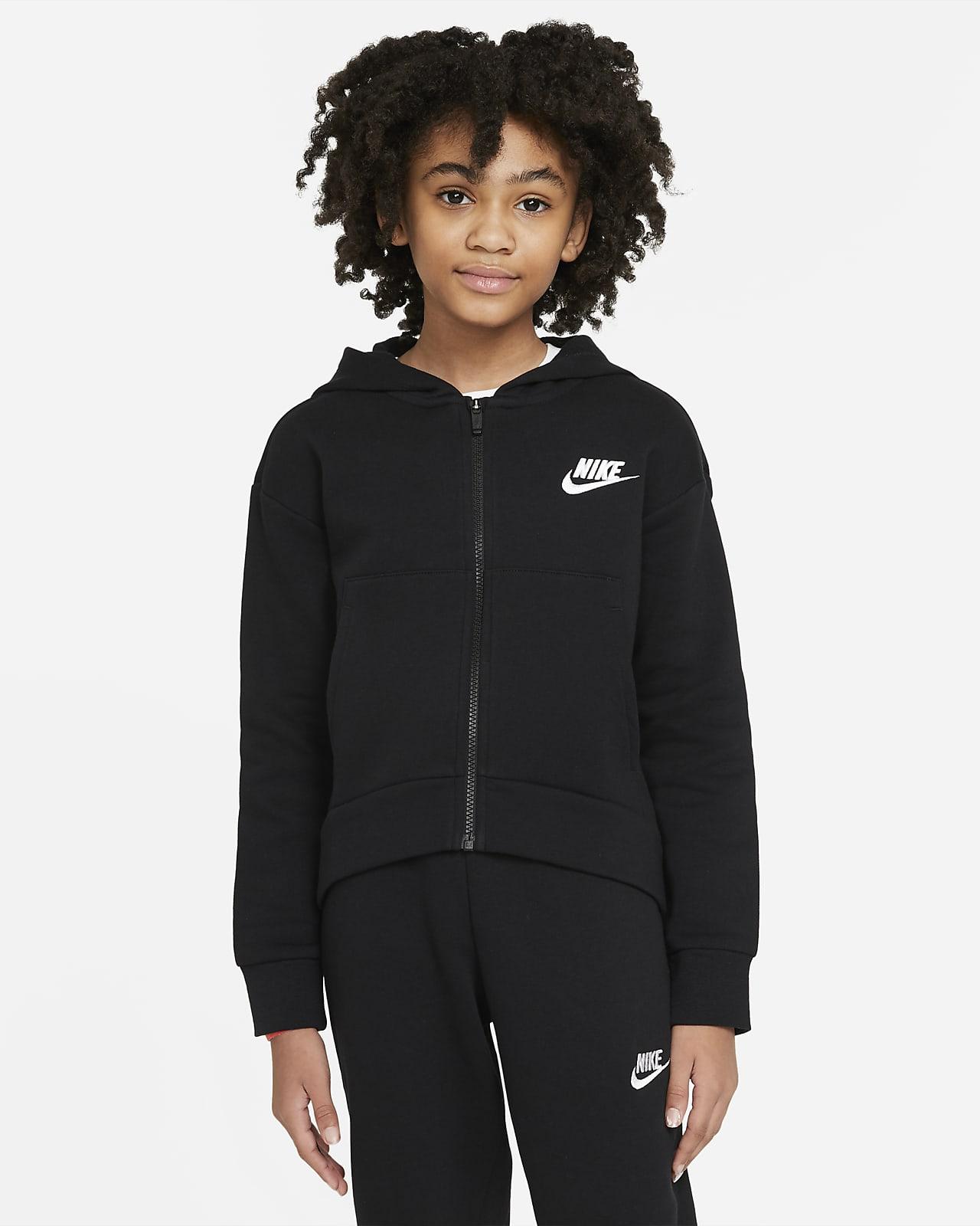 Mikina Nike Sportswear Club Fleece skapucí adlouhým zipem pro větší děti (dívky)