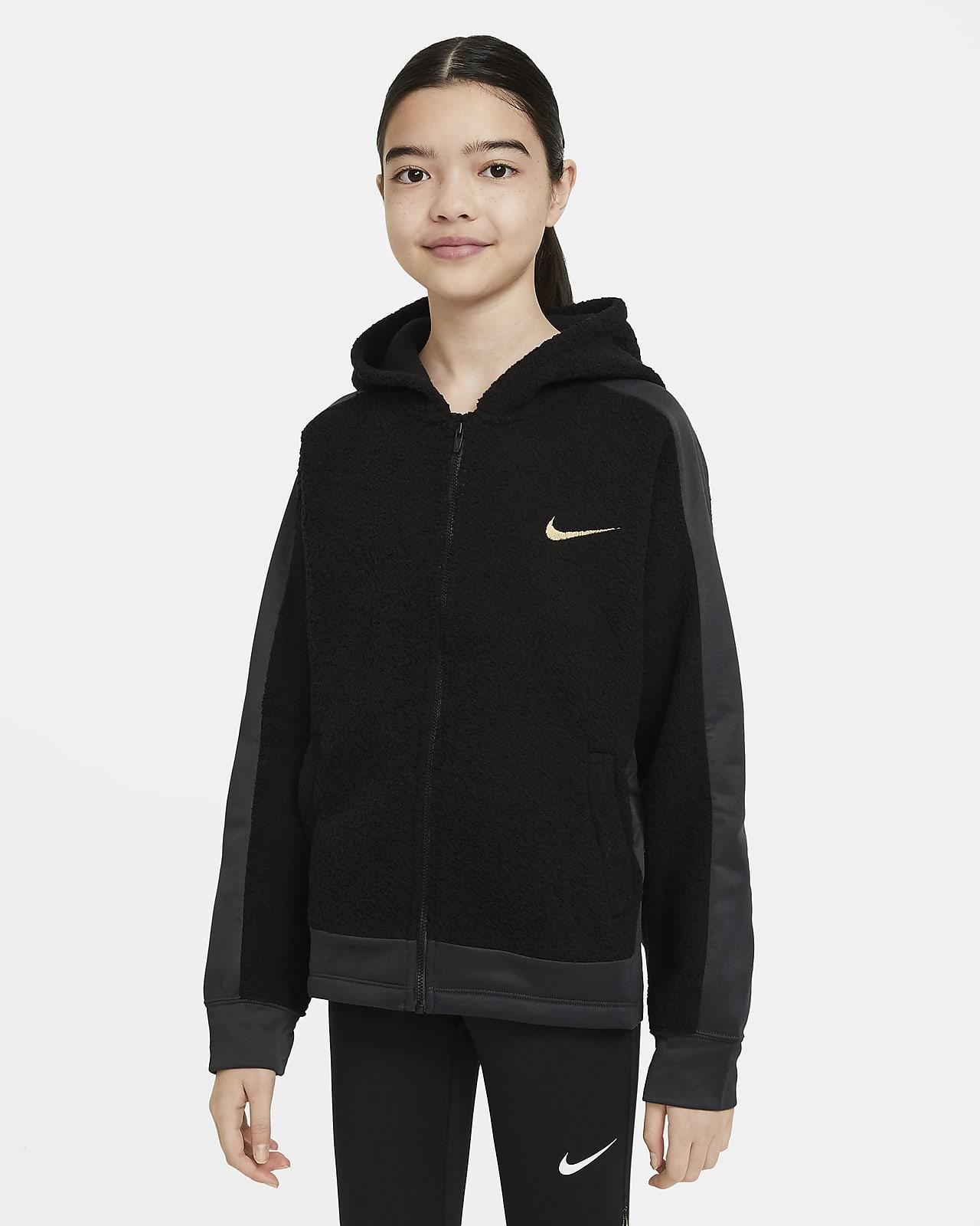 Bluza treningowa z kapturem z zamkiem na całej długości dla dużych dzieci (dziewcząt) Nike Therma