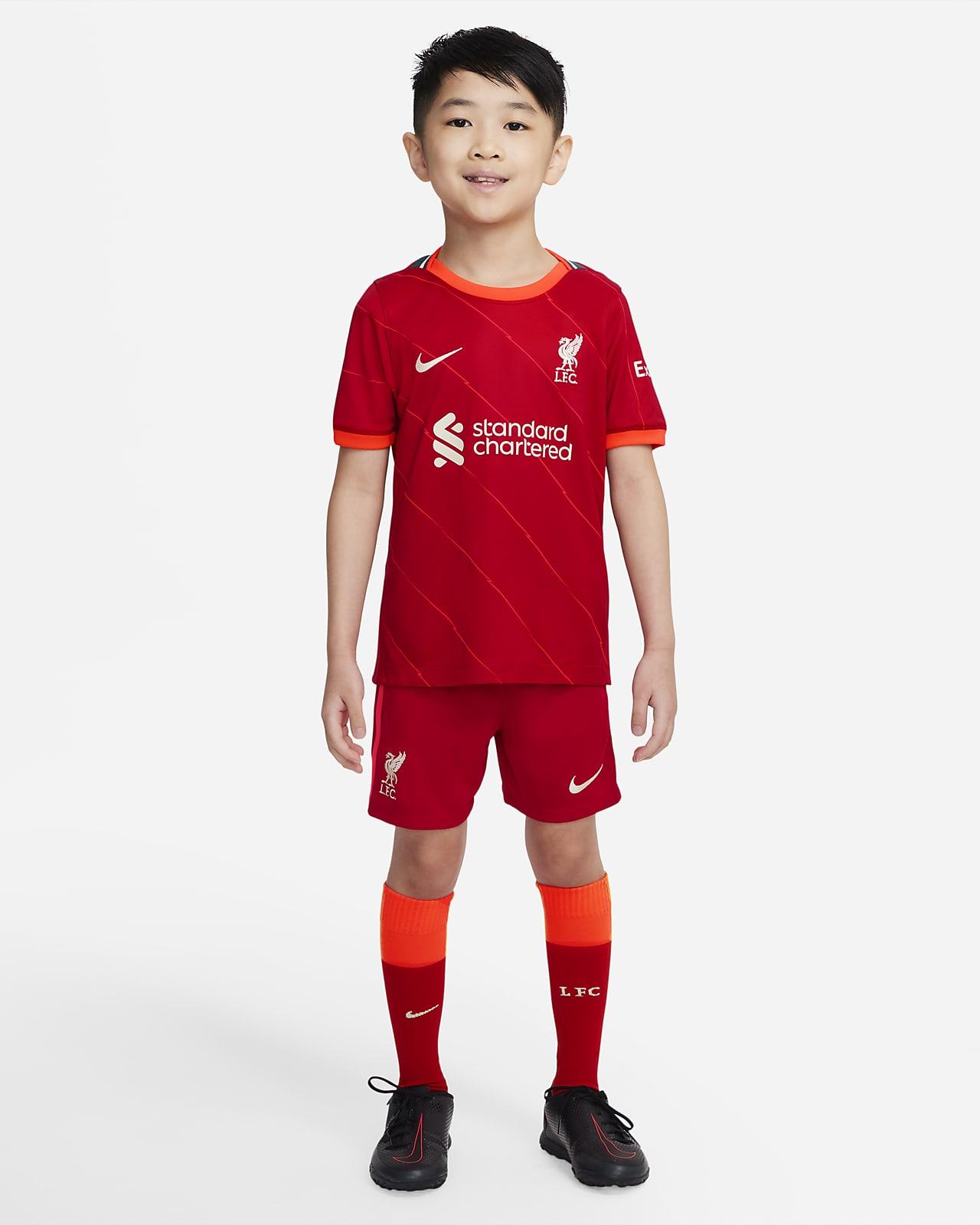 Equipamento de futebol principal Liverpool FC 2021/22 para criança