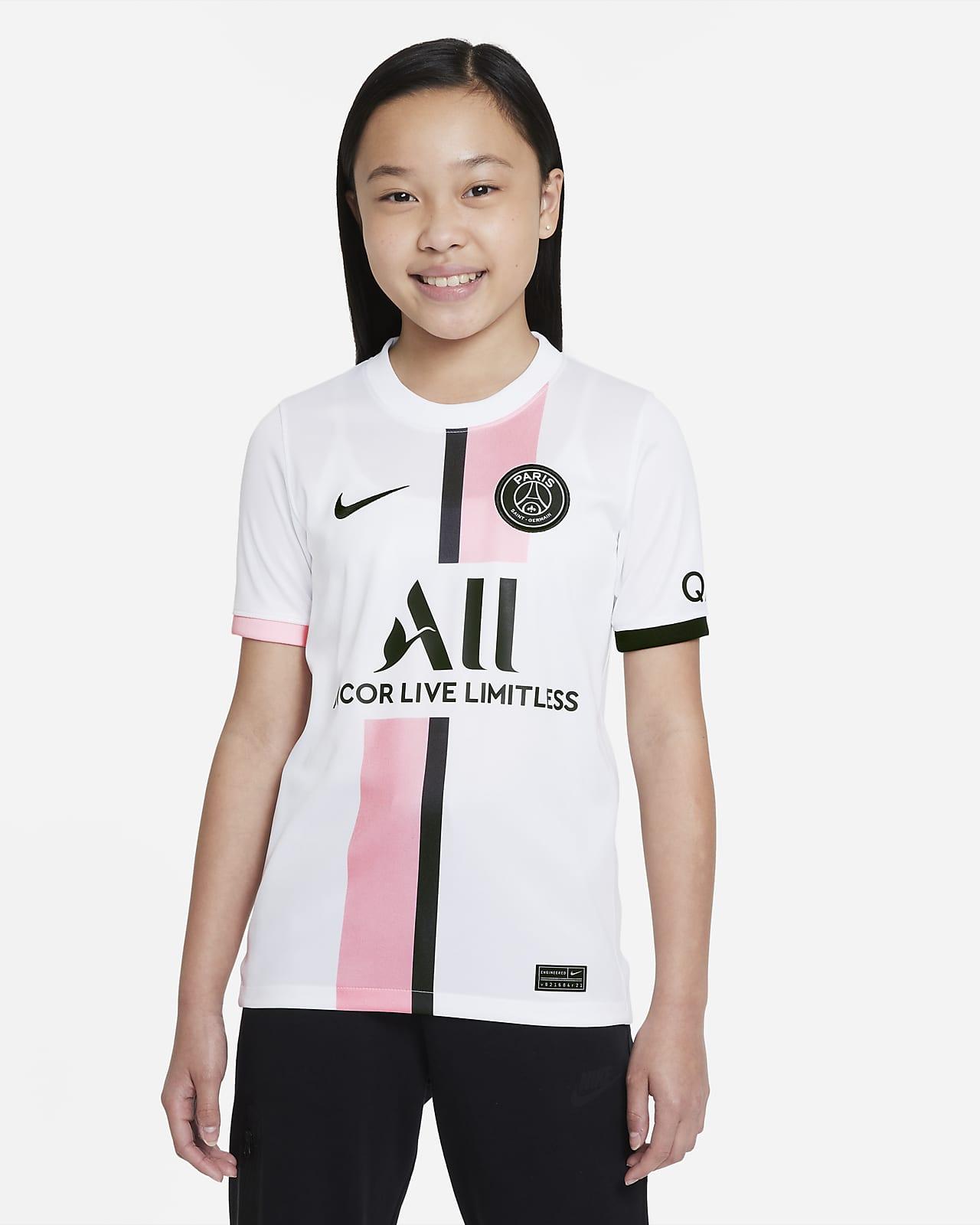 Camiseta de fútbol Dri-FIT Nike para niños talla grande Paris Saint-Germain 2021/22 Stadium de visitante