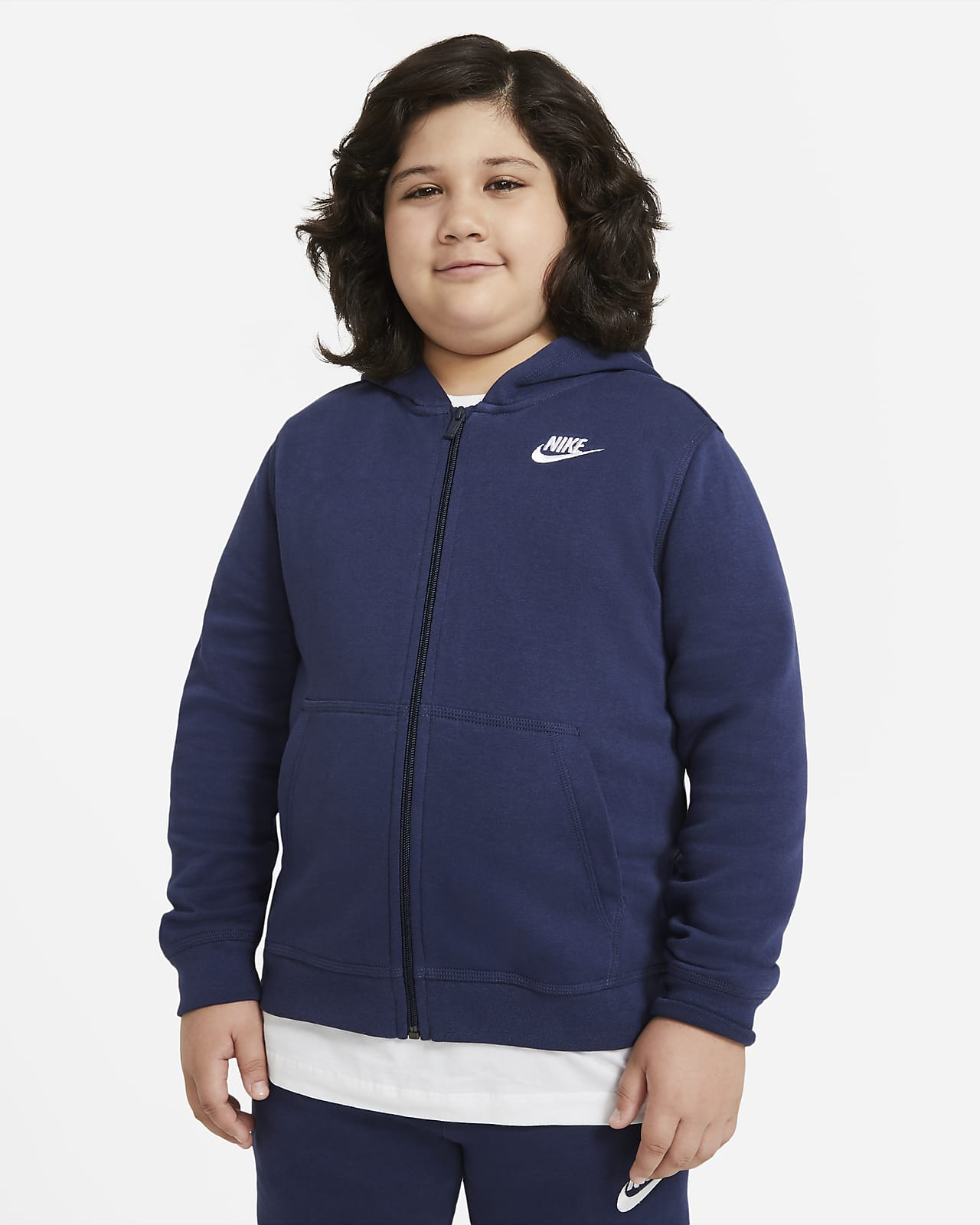 Hoodie com fecho completo Nike Sportswear Club Fleece Júnior (Rapaz) (tamanhos grandes)