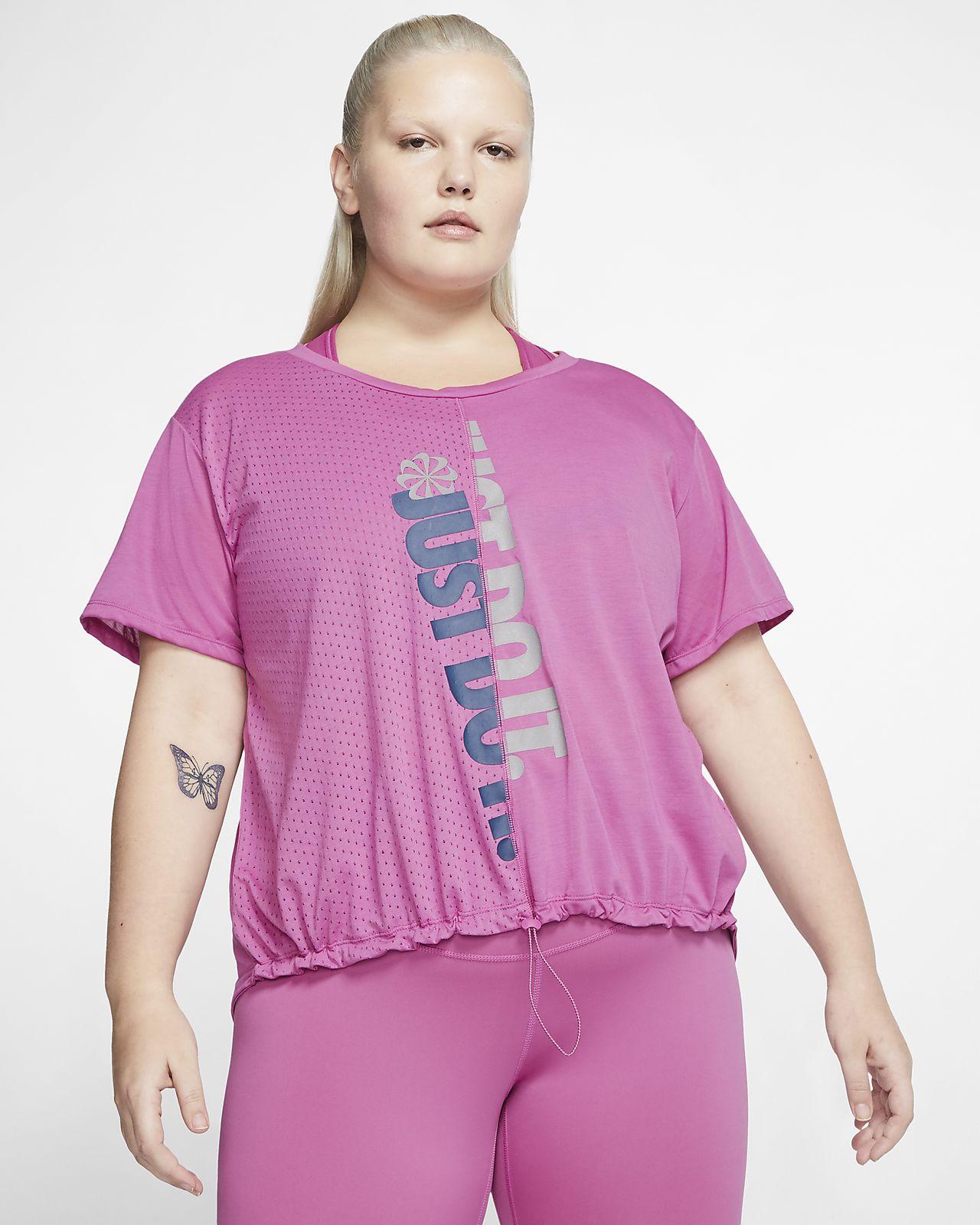Kortærmet Nike Icon Clash løbeoverdel til kvinder (Plus Size)