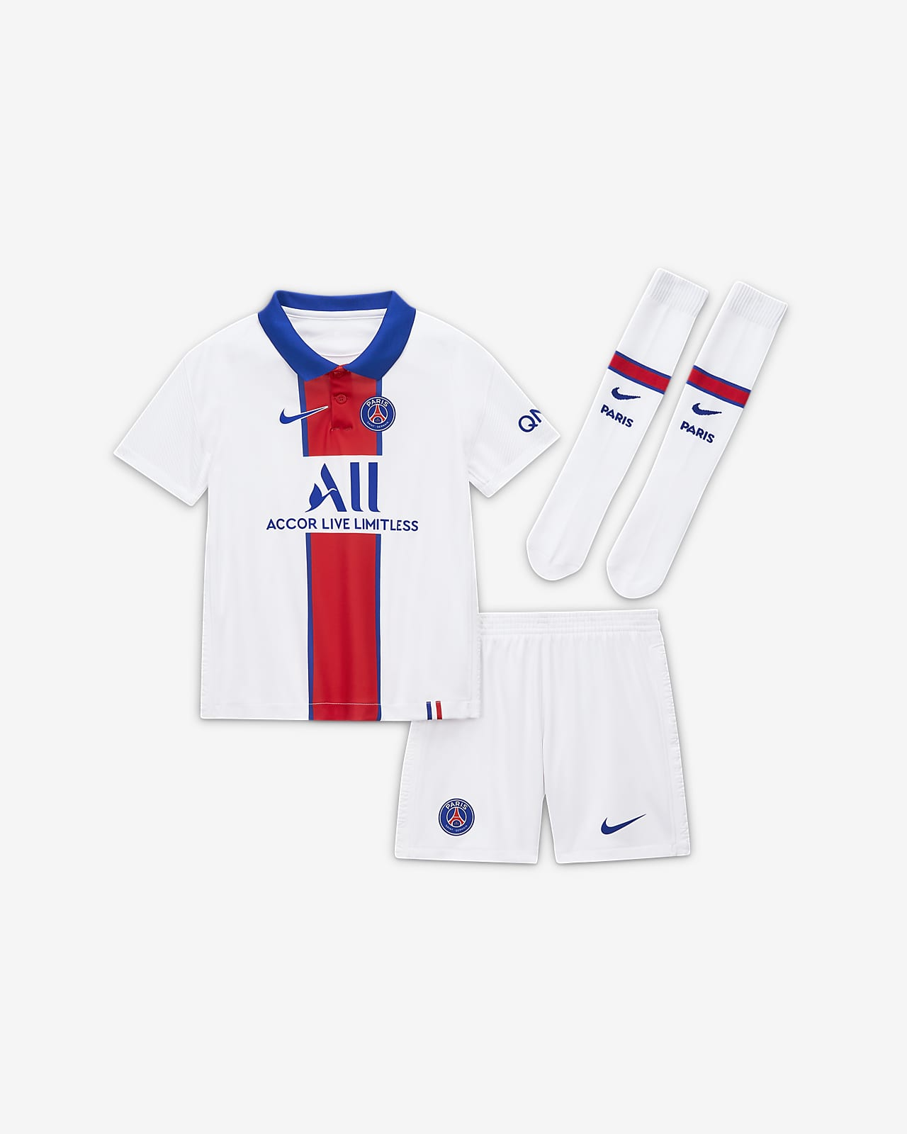 Paris Saint-Germain 2020/21 (bortedrakt) fotballdraktsett til små barn