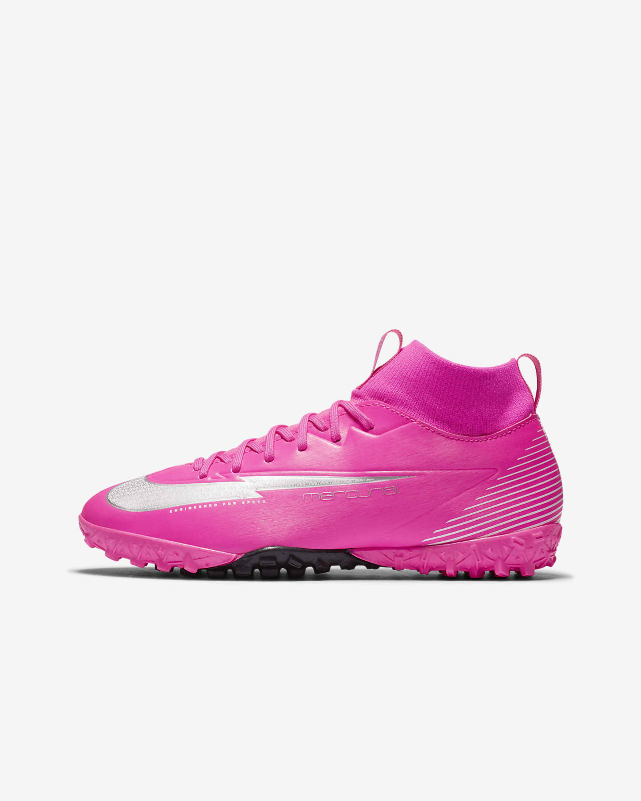 Calzado de fútbol para césped deportivo artificial (turf) para niños talla pequeña/grande Nike Jr. Mercurial Superfly 7 Academy Mbappé Rosa TF