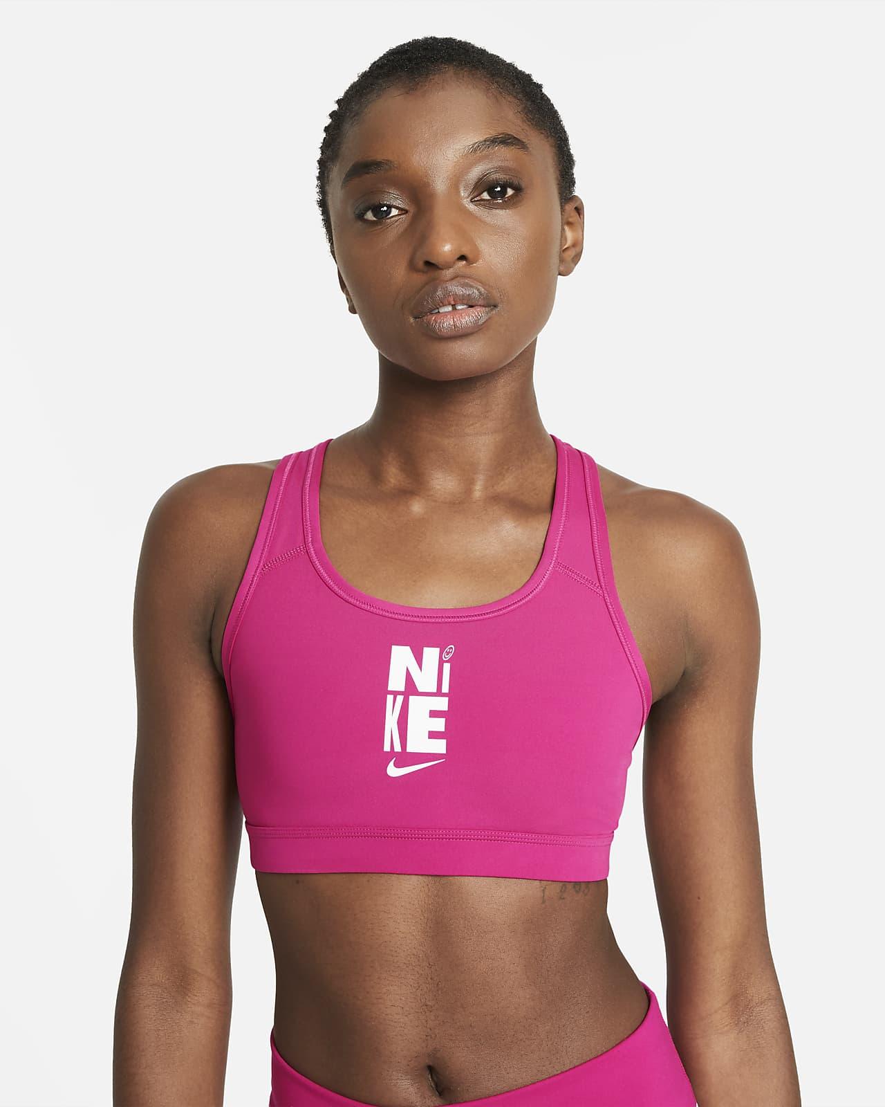 สปอร์ตบราผู้หญิงซัพพอร์ตระดับกลางแบบไม่เสริมฟองน้ำ Nike Swoosh Icon Clash