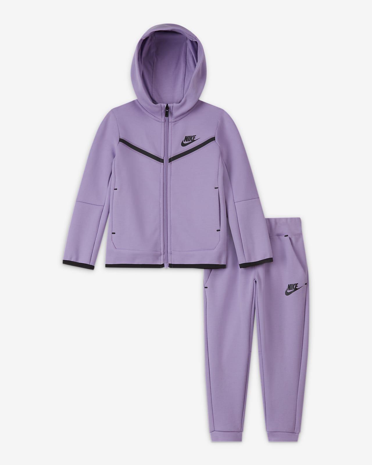 Set med huvtröja med dragkedja och byxor Nike Sportswear Tech Fleece för små barn