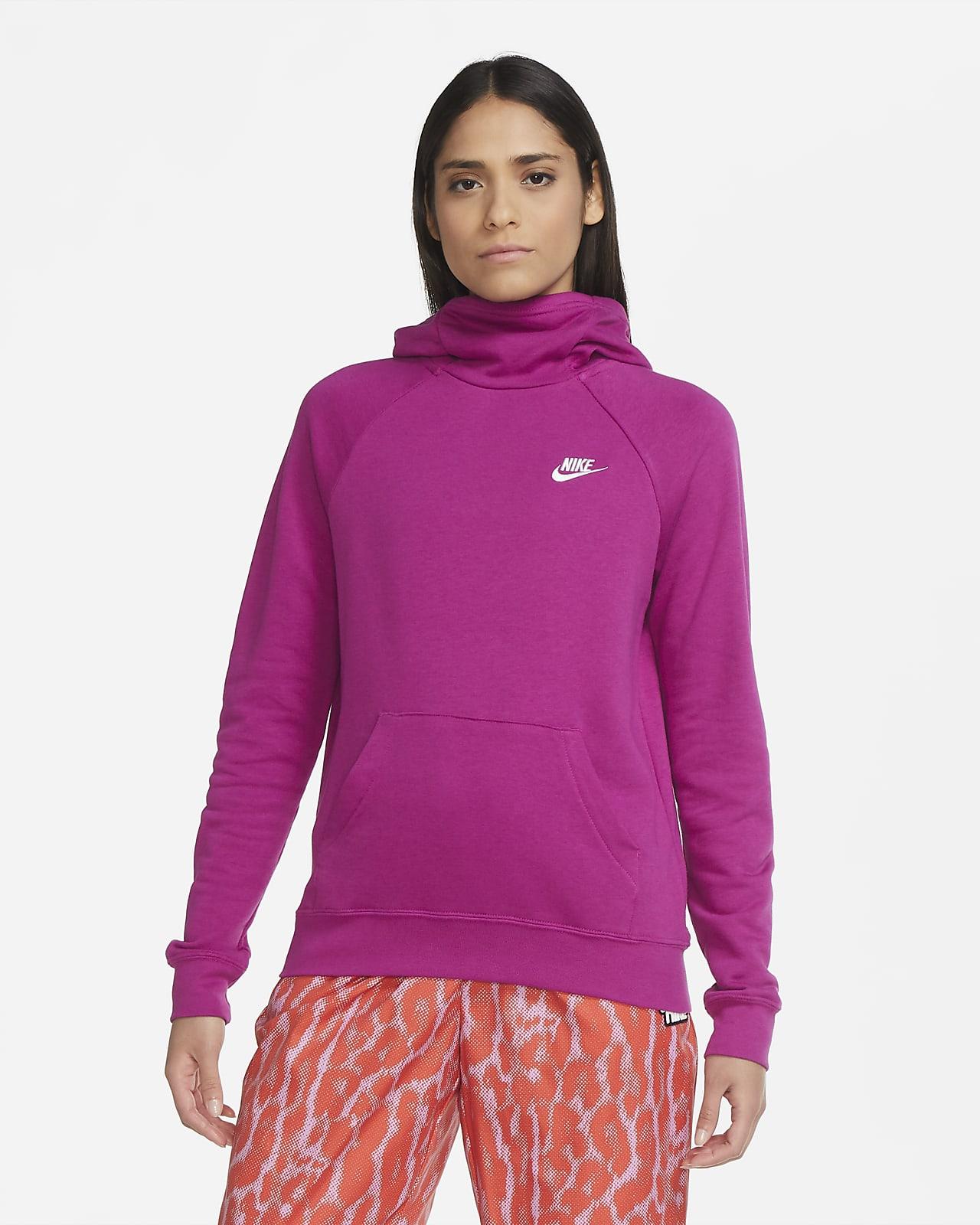 Sudadera con capucha sin cierre de tejido Fleece y cuello en embudo para mujer Nike Sportswear Essential