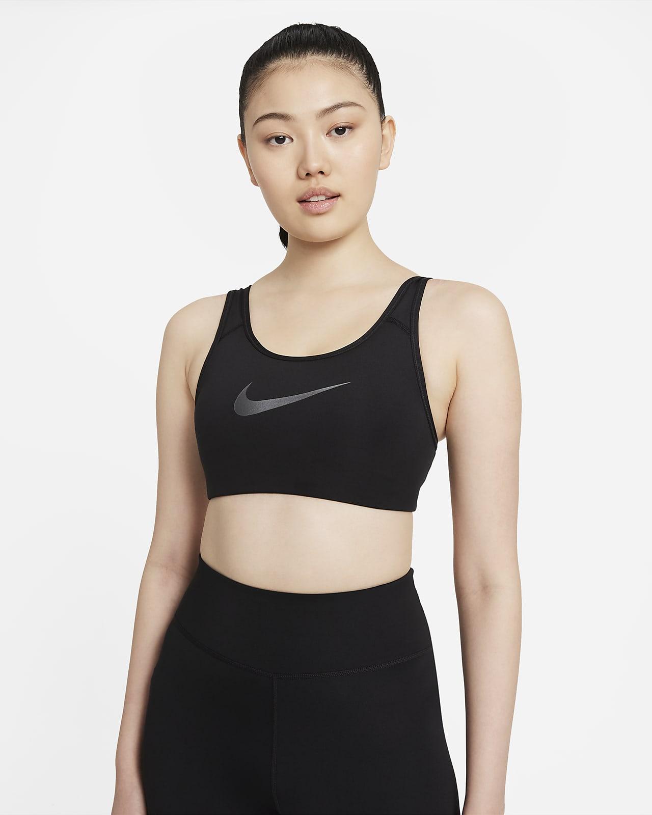 สปอร์ตบราผู้หญิงซัพพอร์ตระดับกลางแบบสายเส้นเล็กมีแผ่นฟองน้ำ 1 ชิ้น Nike Dri-FIT Swoosh Icon Clash