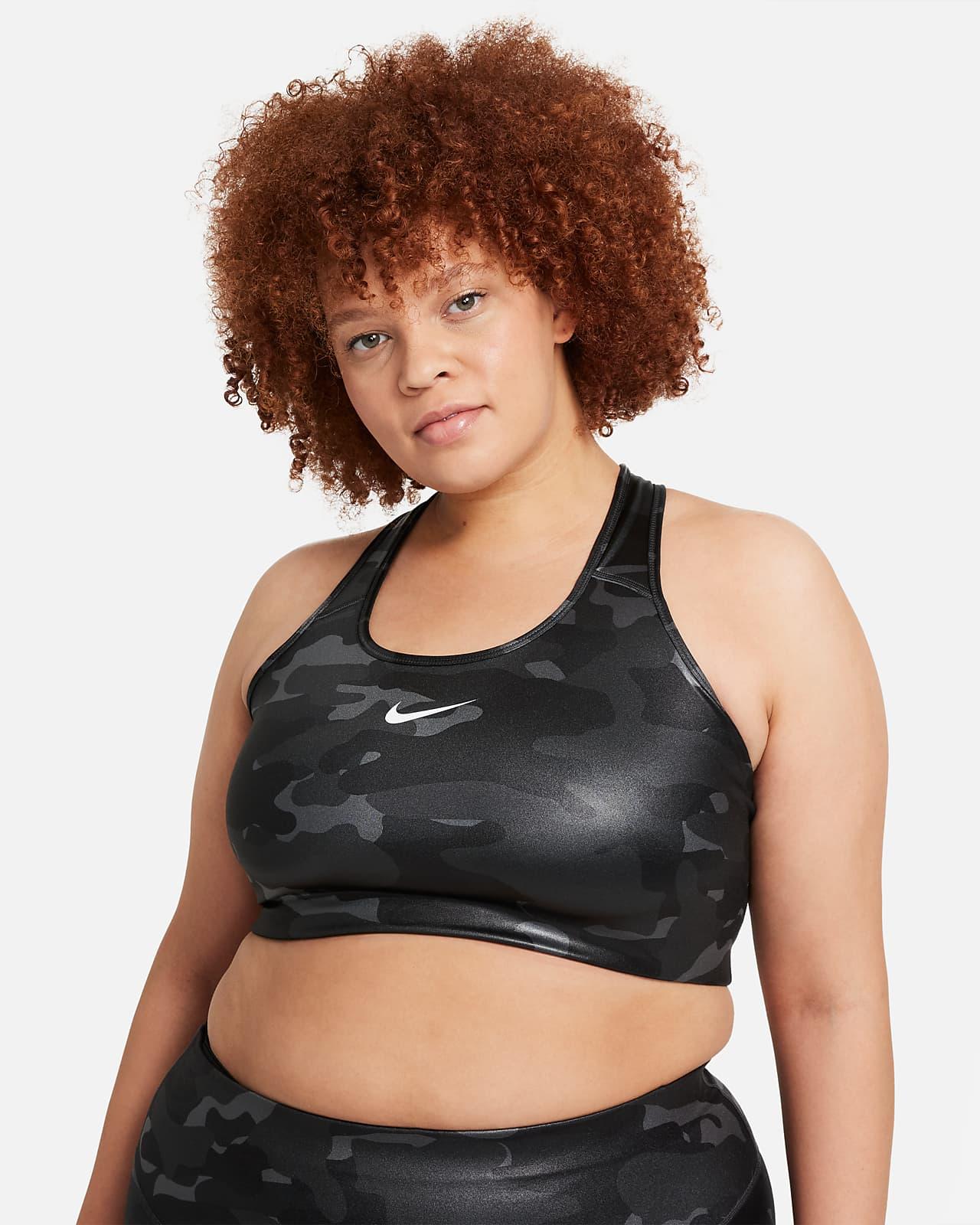 Nike Dri-FIT Swoosh Sport-BH mit starkem Halt ohne Polster (große Größe)