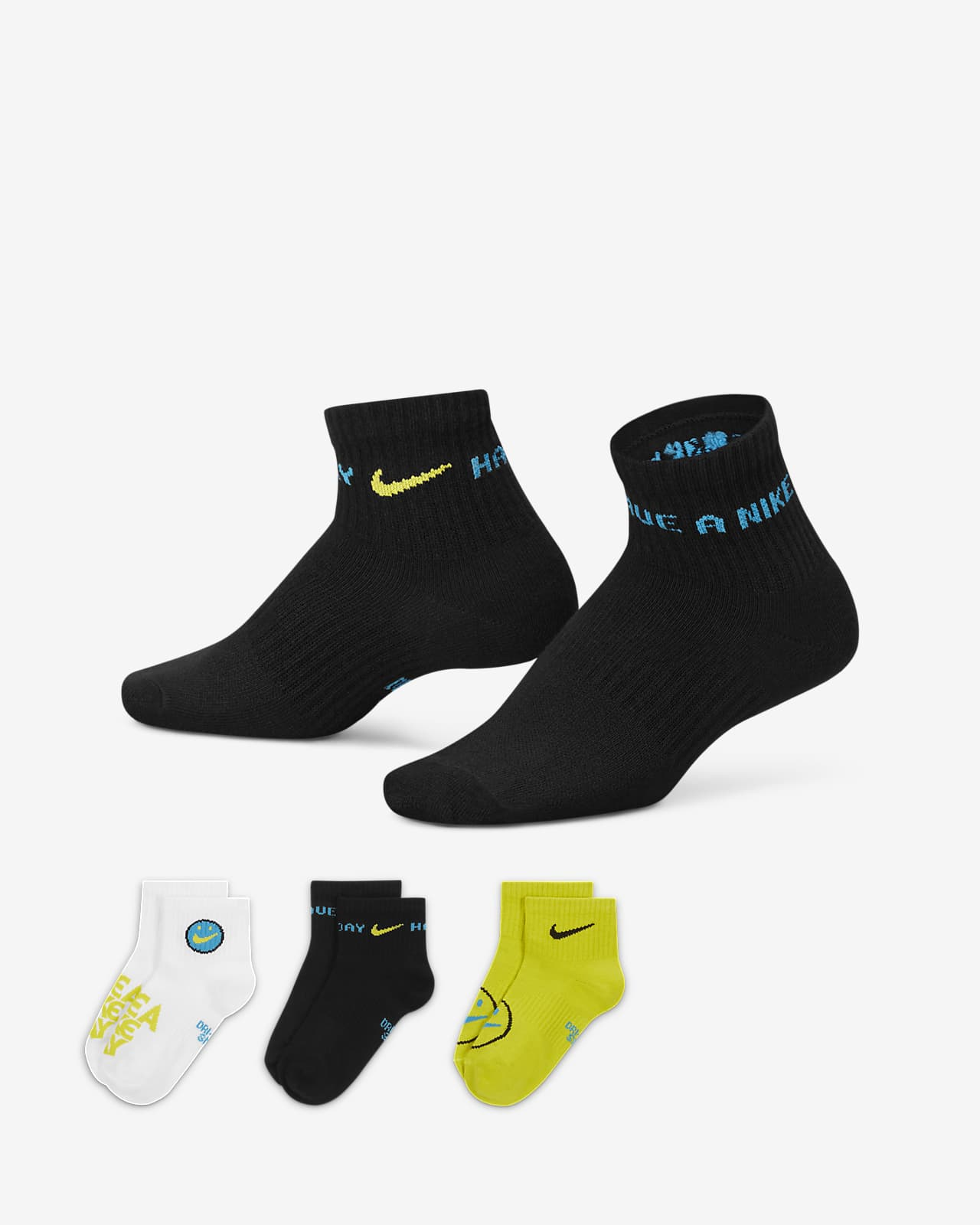 Nike Everyday Lichte enkelsokken voor kids (3 paar)