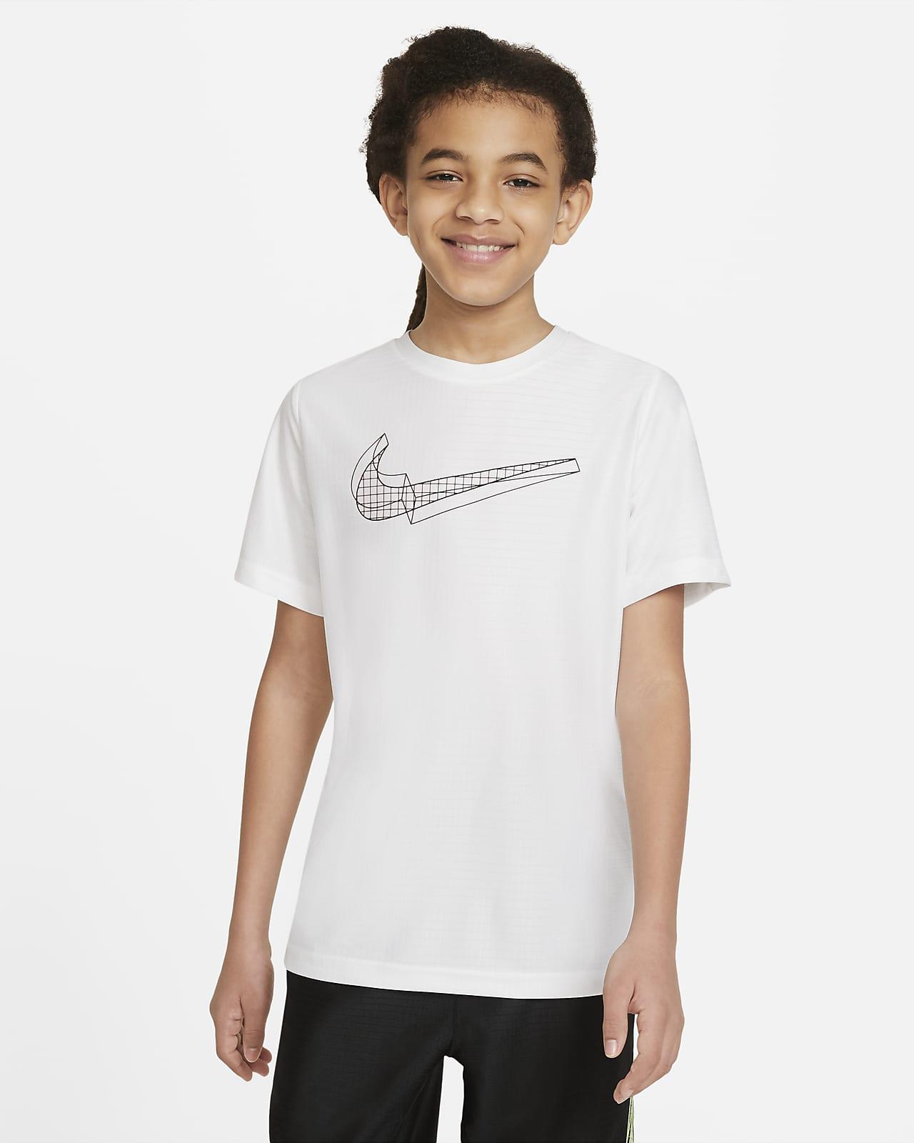 Camiseta de entrenamiento de manga corta con gráfico para niño talla grande Nike