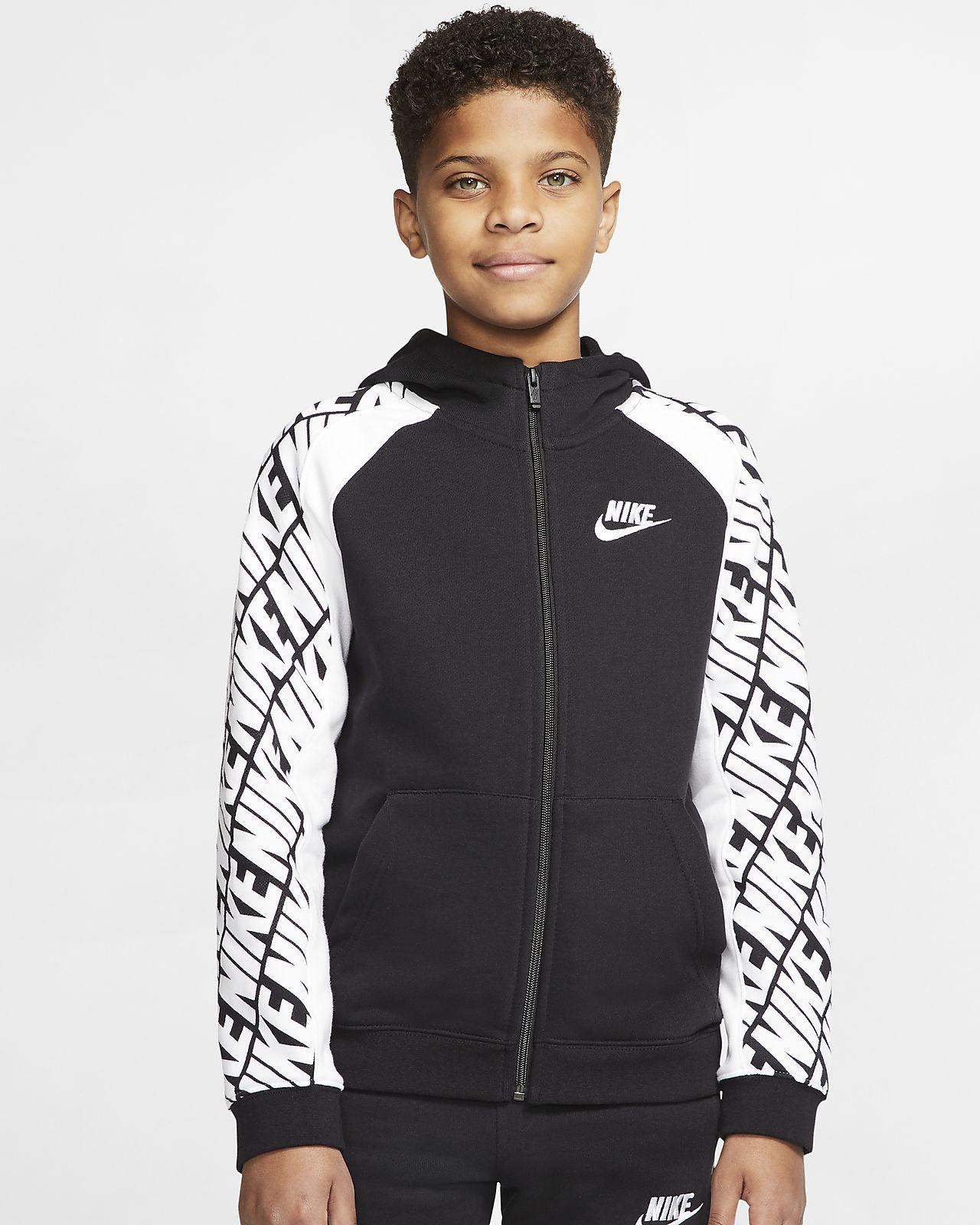 Sudadera con capucha de cierre completo de French Terry para niño talla grande Nike Sportswear