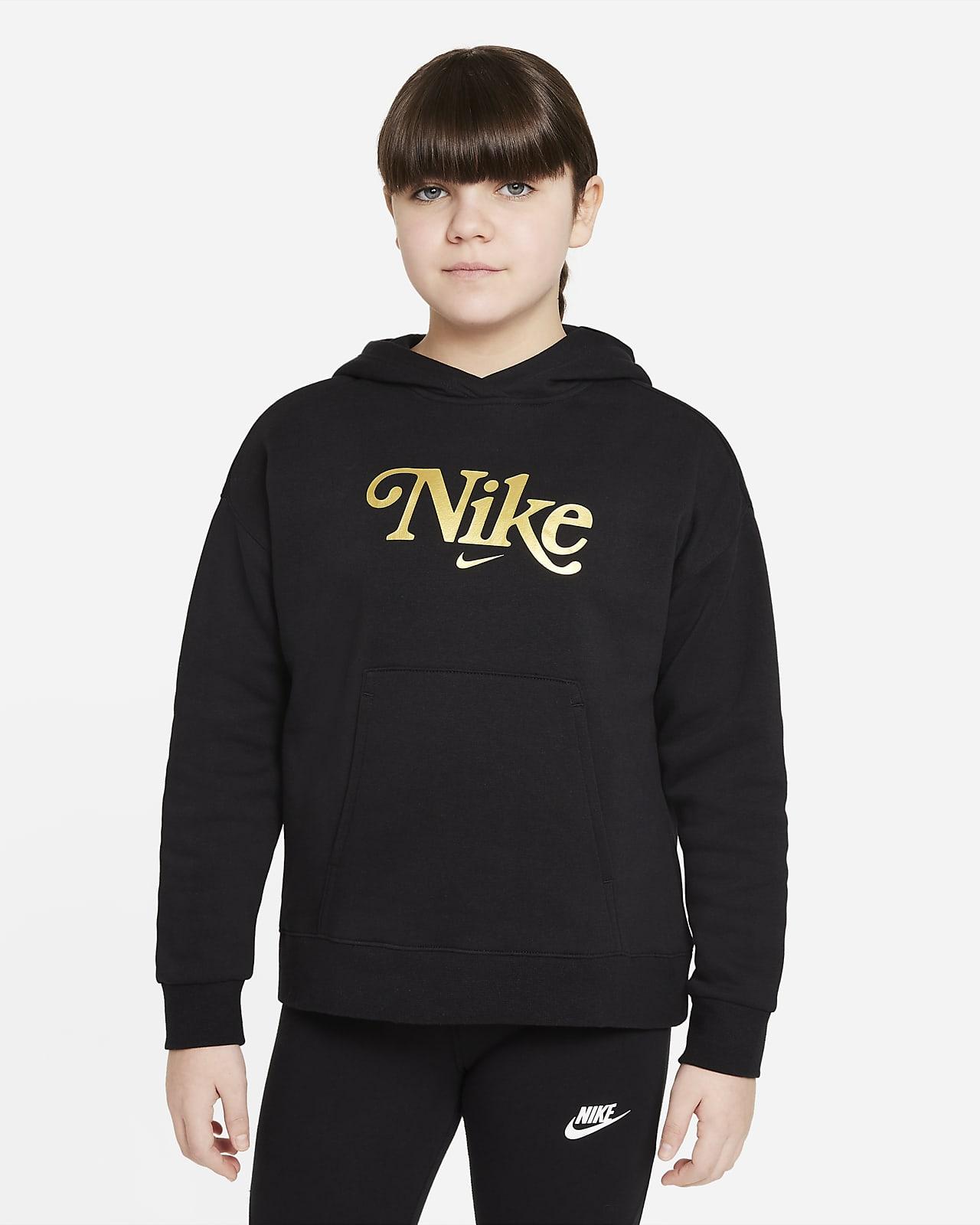 Nike Sportswear Club Fleece hettegenser til store barn (jente) (utvidet størrelse)