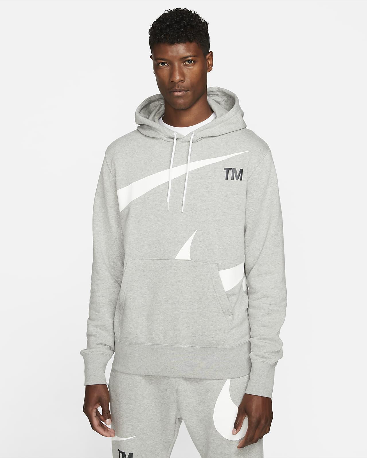 Huvtröja med halvborstad insida Nike Sportswear Swoosh för män