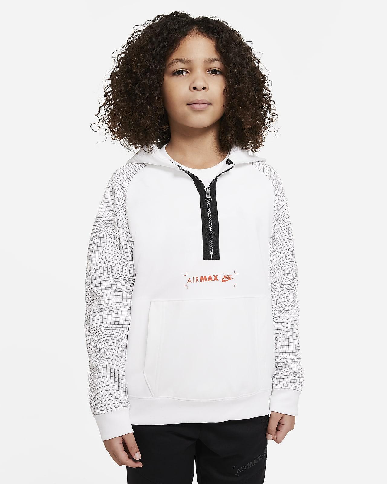 Dzianinowa bluza z kapturem i zamkiem 1/2 dla dużych dzieci (chłopców) Nike Sportswear Air Max