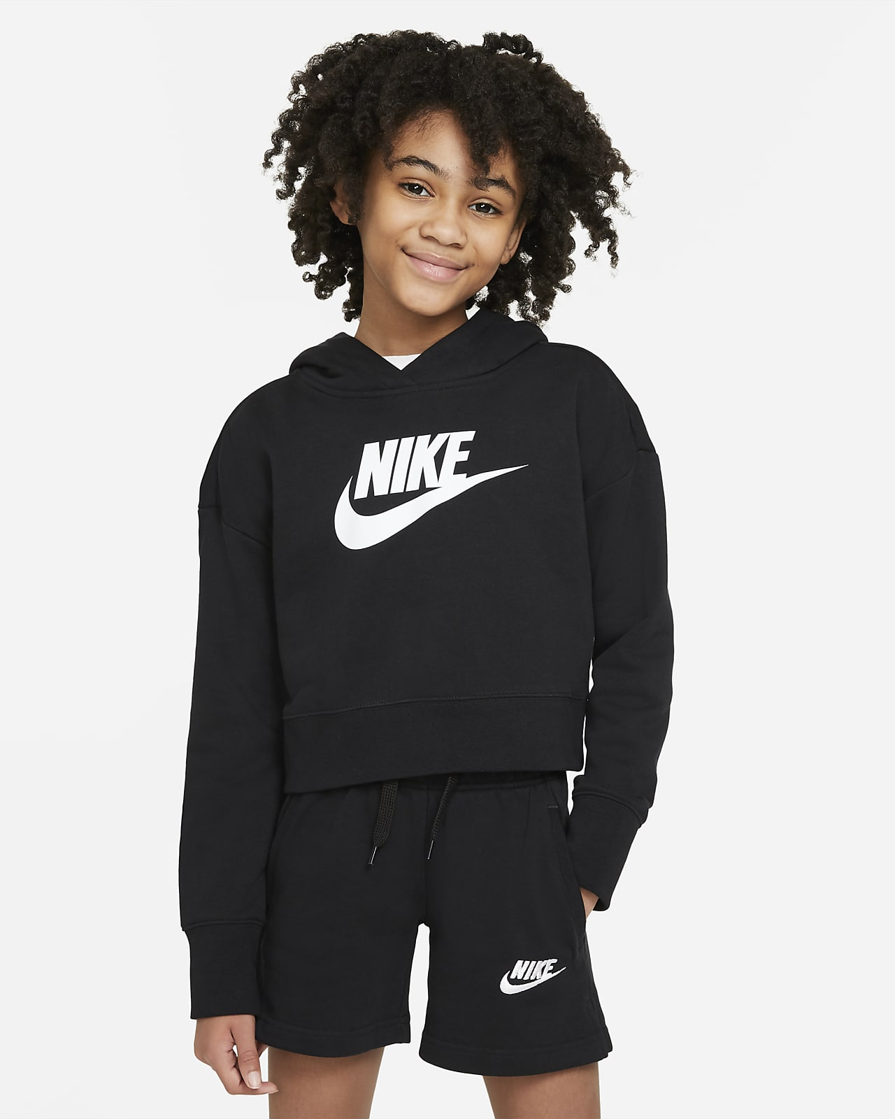 Nike Sportswear Club Big Kids' (Girls') French Terry Cropped Hoodie