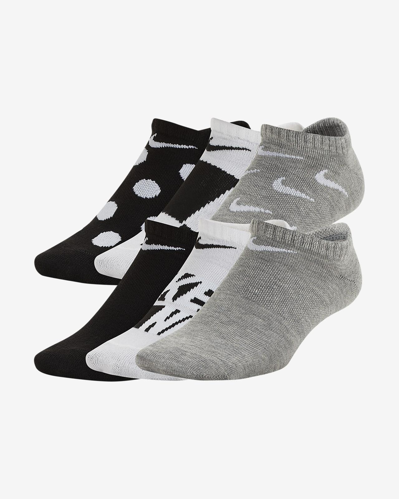 Calcetines invisibles ligeros estampados para niños talla grande Nike Everyday (6 pares)