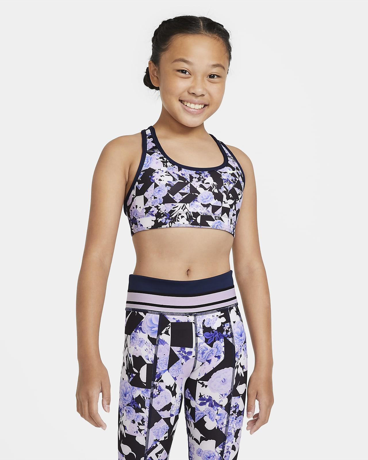 Nike Swoosh mønstret vendbar Sports-BH for store barn (jente)