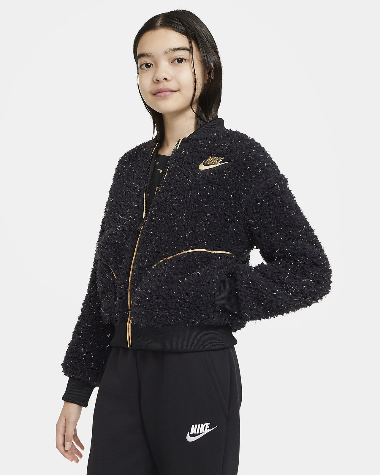 Bunda Nike Sportswear se zipem po celé délce simitací beránka pro větší děti (dívky)