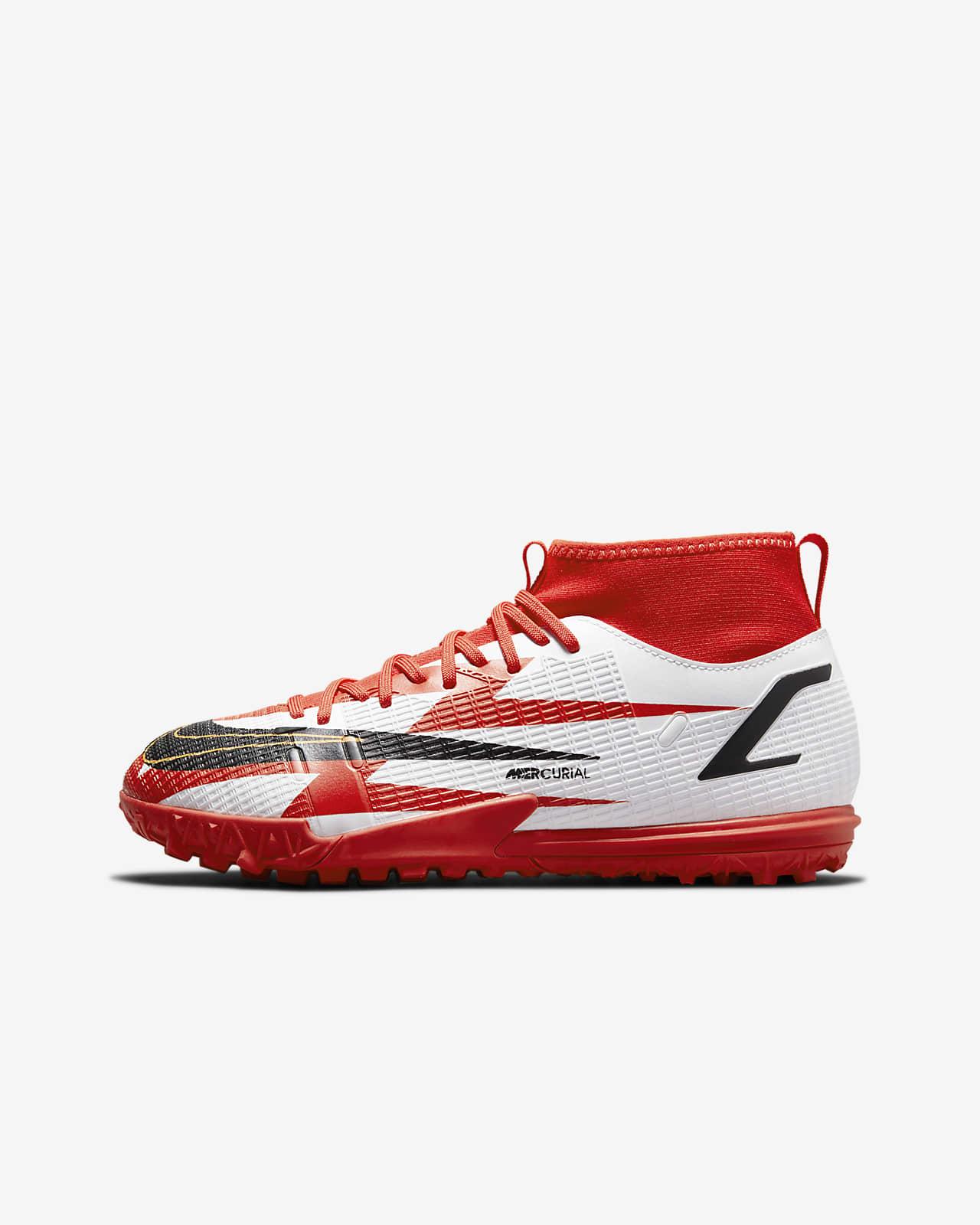 รองเท้าฟุตบอลเด็กเล็ก/โตสำหรับพื้นสนามหญ้าเทียม Nike Jr. Mercurial Superfly 8 Academy CR7 TF