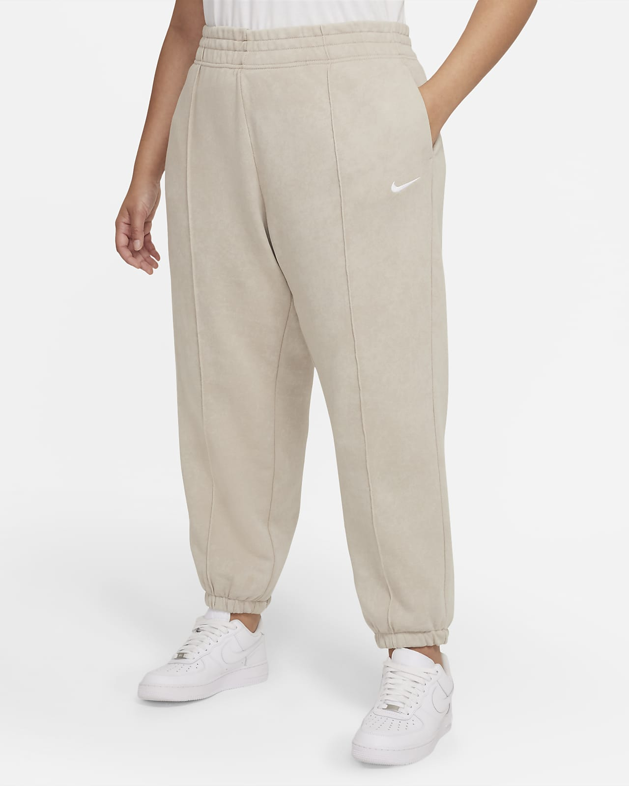 Calças de lã cardada com efeito lavado Nike Sportswear Essential Collection para mulher (tamanhos grandes)