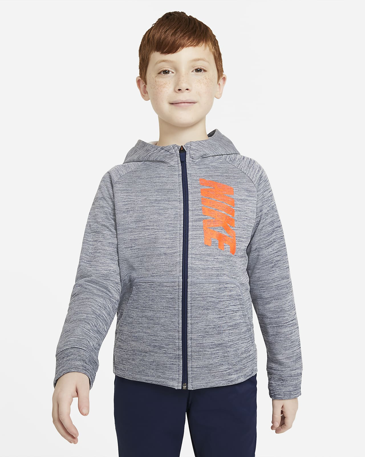Nike Therma Trainings-Hoodie mit durchgehendem Reißverschluss und Grafik für ältere Kinder (Jungen)