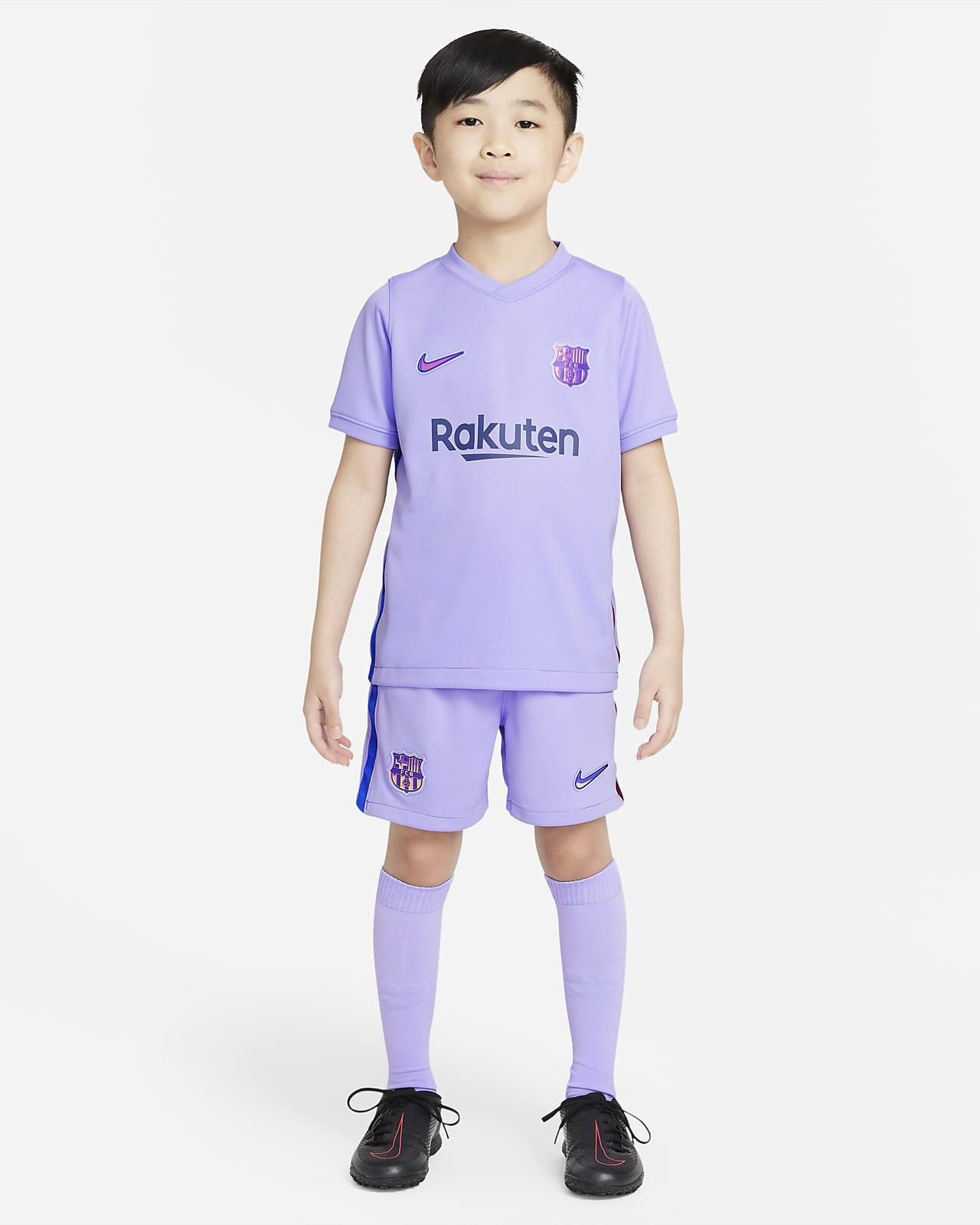 FC Barcelona 2021/22 Away Fußballtrikot-Set für jüngere Kinder