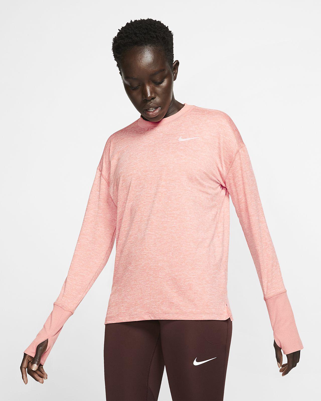 Men/'s Nike Running Dri-Fit Long Sleeve Top L Large Thumb Holes Side Zip Pocket
