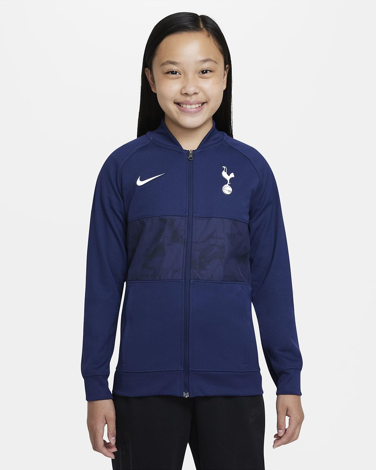 Chamarra de fútbol de cierre completo para niños talla grande Tottenham Hotspur