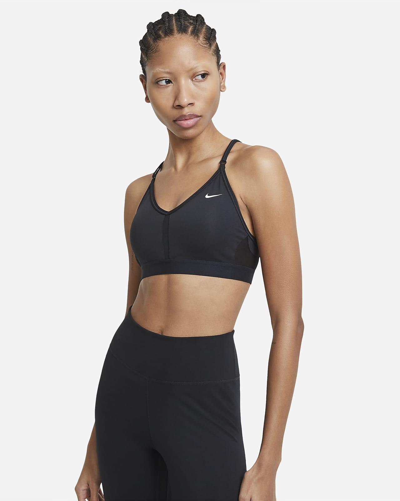 Damski stanik sportowy z dekoltem w kształcie litery V i wkładkami zapewniający lekkie wsparcie Nike Dri-FIT Indy