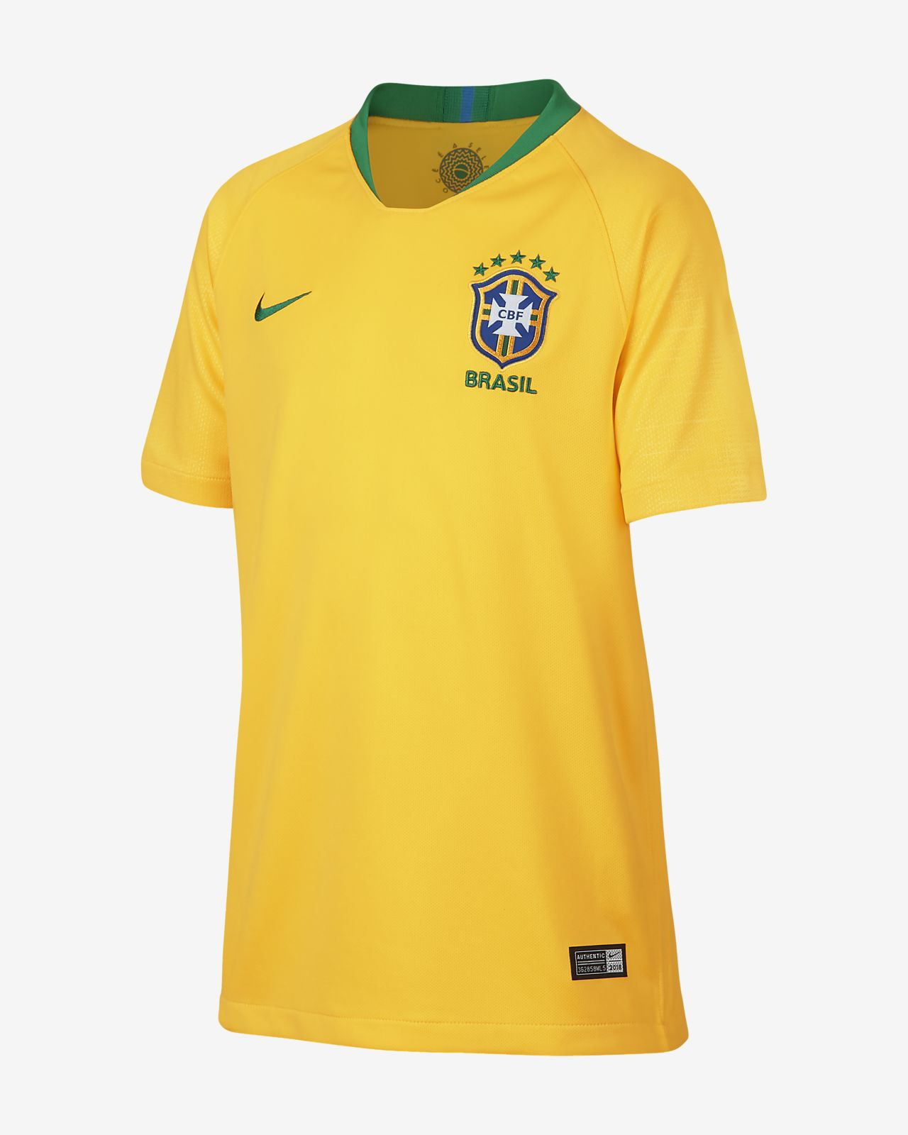 2018 Brazil CBF Stadium Home Older Kids' Football Shirt