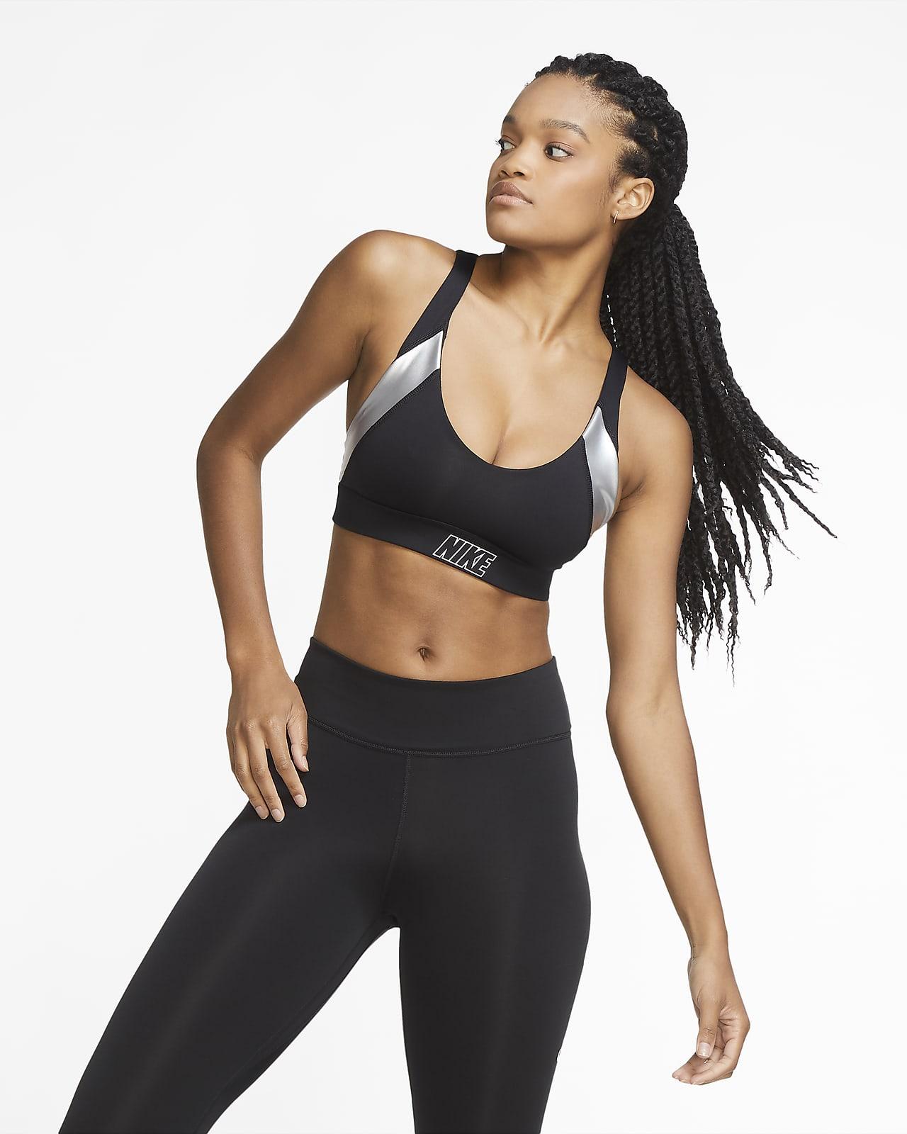 Αθλητικός στηθόδεσμος ελαφριάς στήριξης με ενίσχυση και μεταλλιζέ όψη Nike Indy