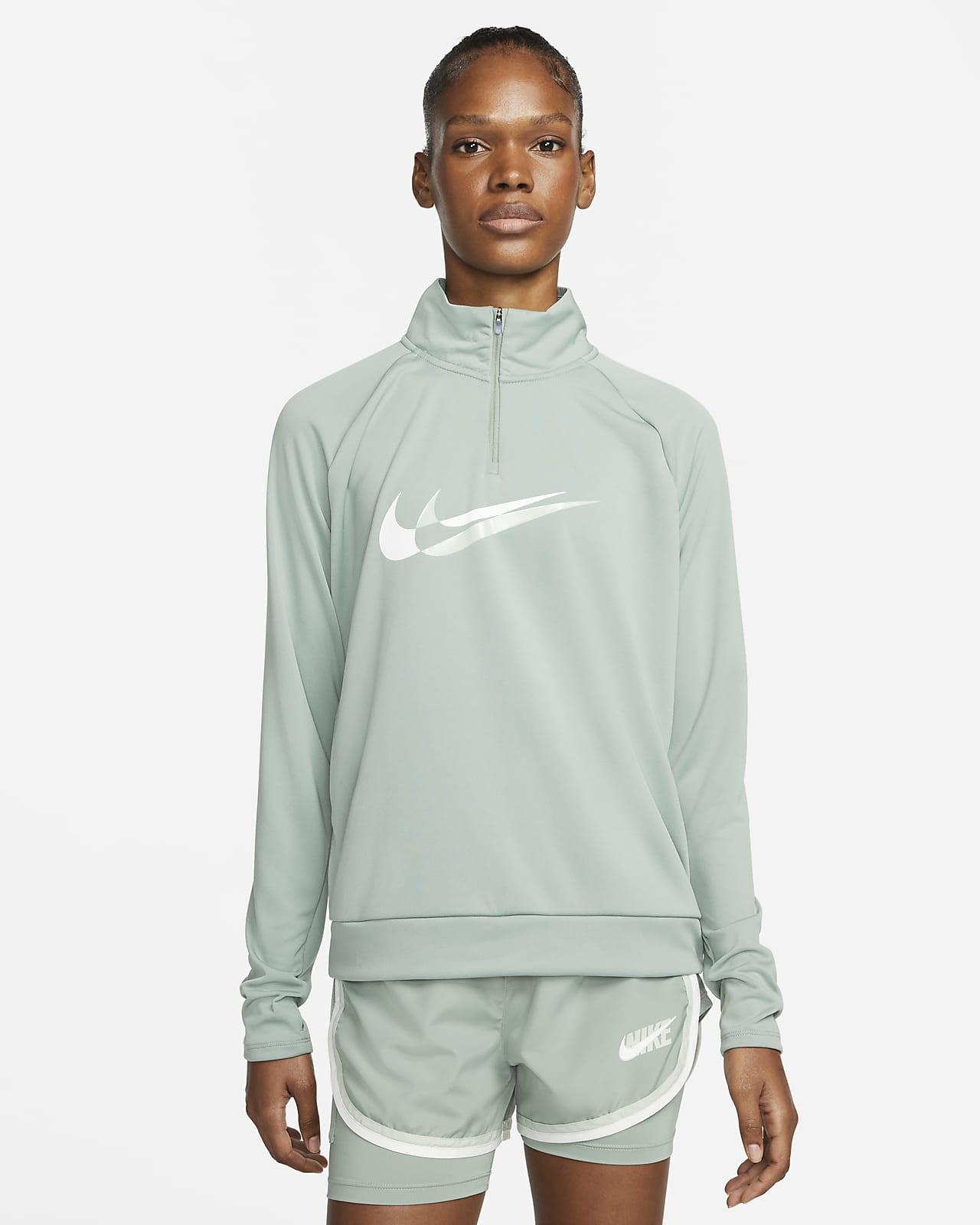 Mellanlager Nike Dri-FIT Swoosh Run med 1/4-dragkedja för kvinnor