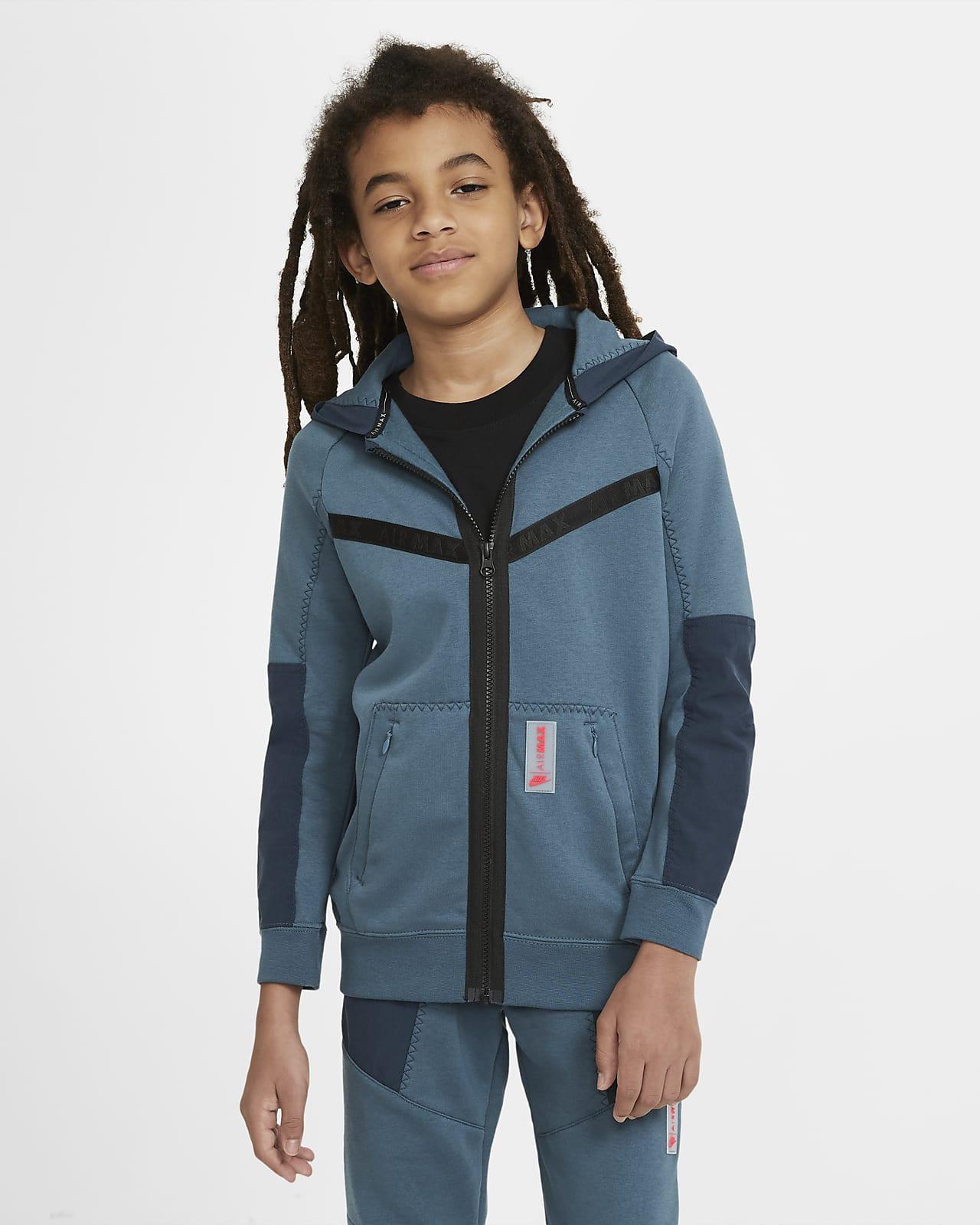 Nike Sportswear Air Max-fleecehættetrøje med lynlås i fuld længde til store børn (drenge)
