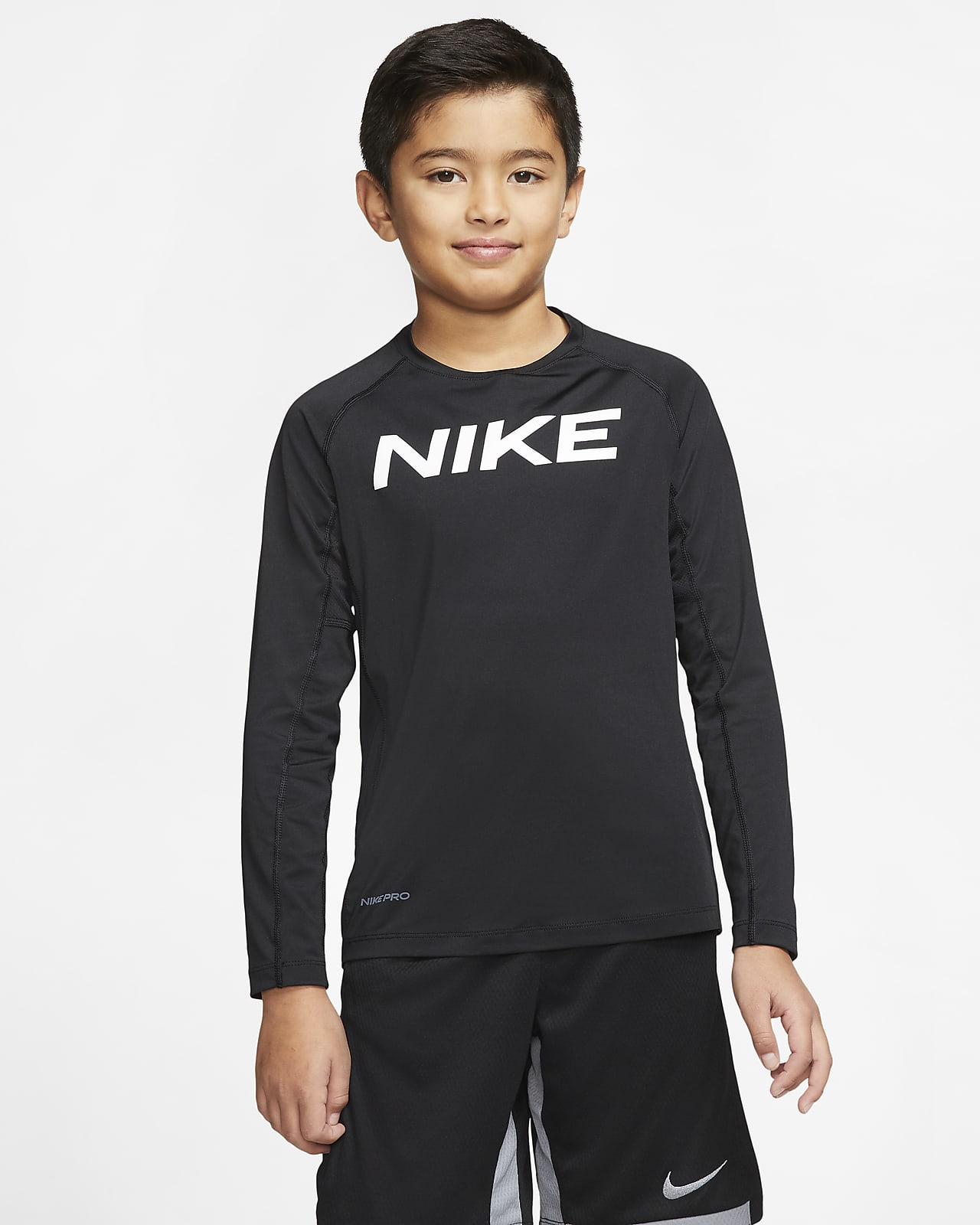 Tréninkové tričko Nike Pro s dlouhým rukávem pro větší děti (chlapce)