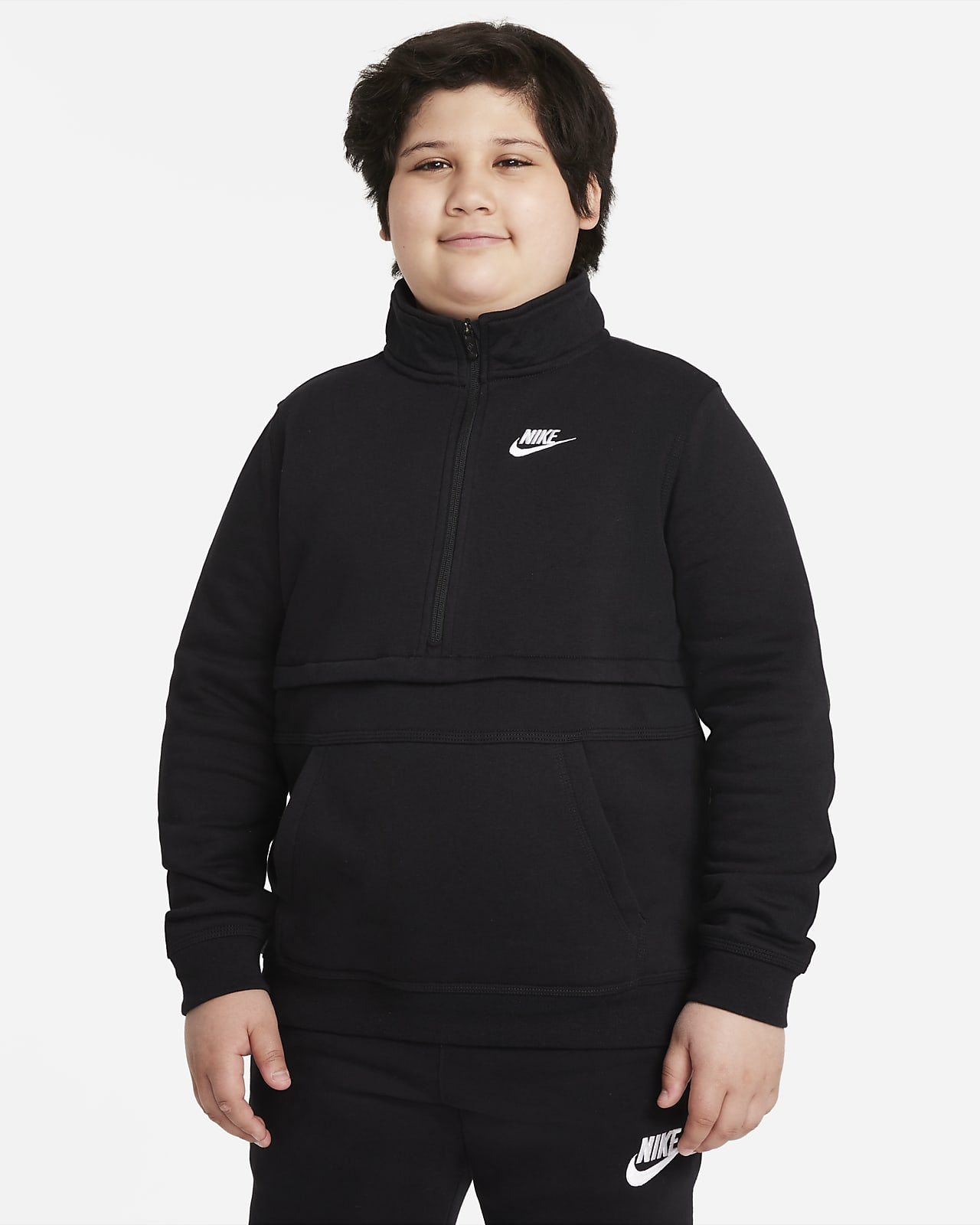 Nike Sportswear Club Jongenstop met korte rits (grotere maten)