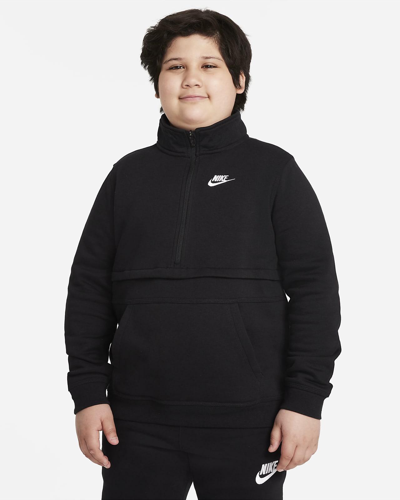 Nike Sportswear Club Oberteil mit Halbreißverschluss für ältere Kinder (Jungen) (erweiterte Größe)