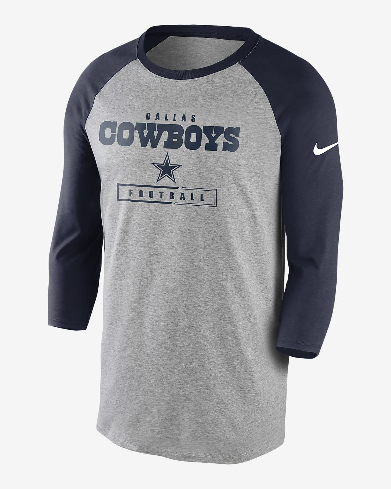 Nike Wordmark Raglan (NFL Cowboys) Men's 3/4-Sleeve T-Shirt