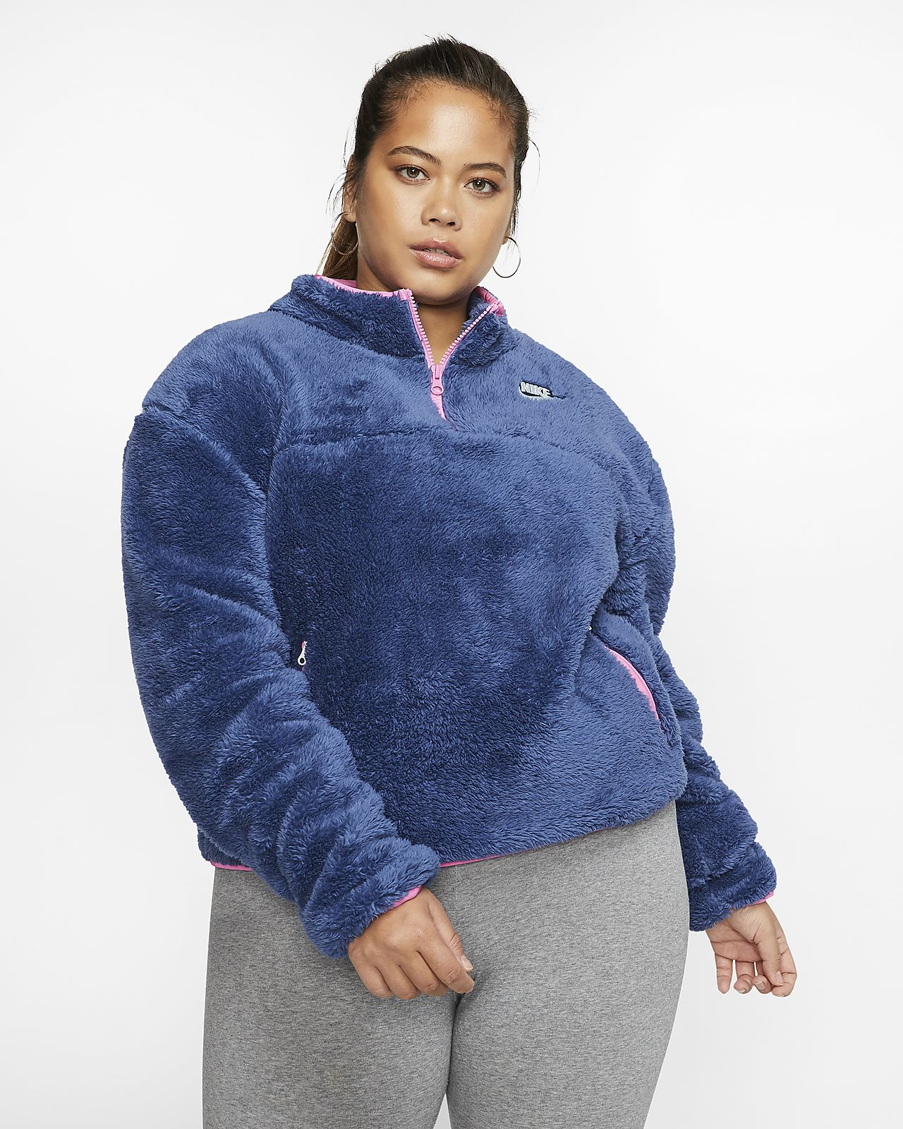 3 women's nike sportswear essential quarter-zip fleece top