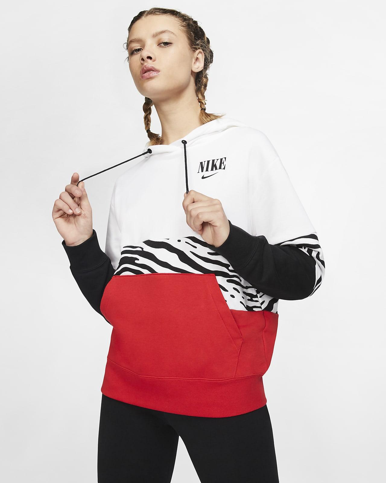 Felpa pullover in French Terry con cappuccio e grafica Nike Sportswear Essential - Donna